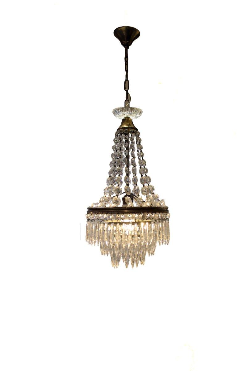 Italienischer Kristallglas Kronleuchter, 1950er