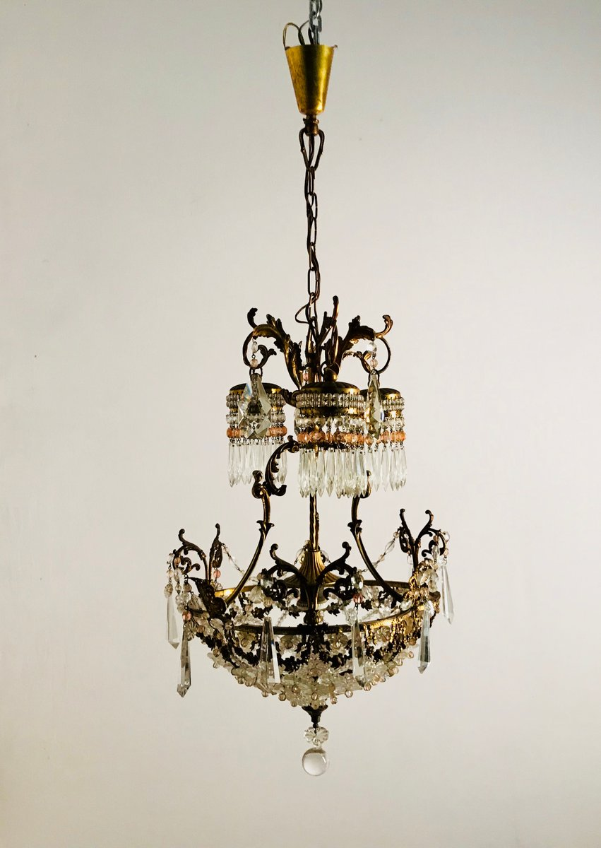 Vintage French Crystal Beaded Liberty Chandelier - Vintage French Crystal Beaded Liberty Chandelier For Sale At Pamono