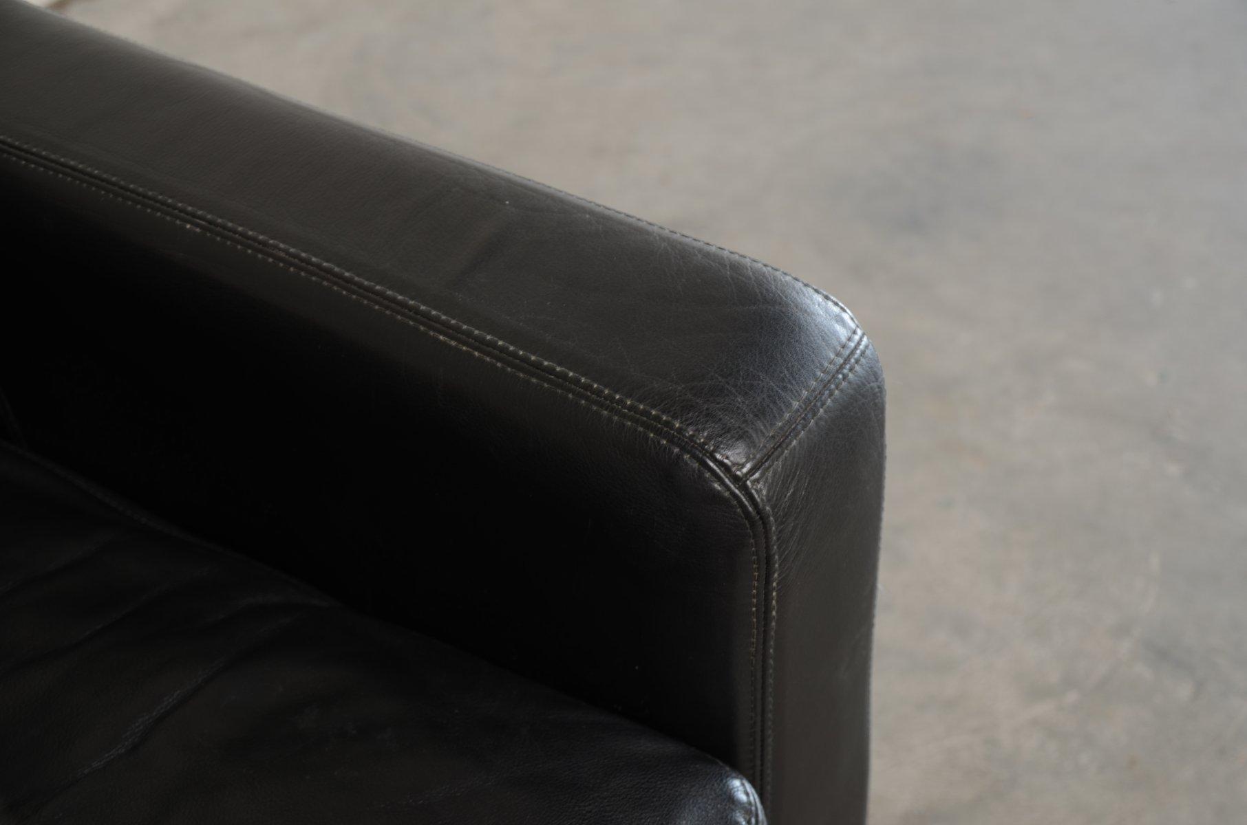 Vintage conseta ledersofa in schwarz von cor bei pamono kaufen for Ledersofa schwarz