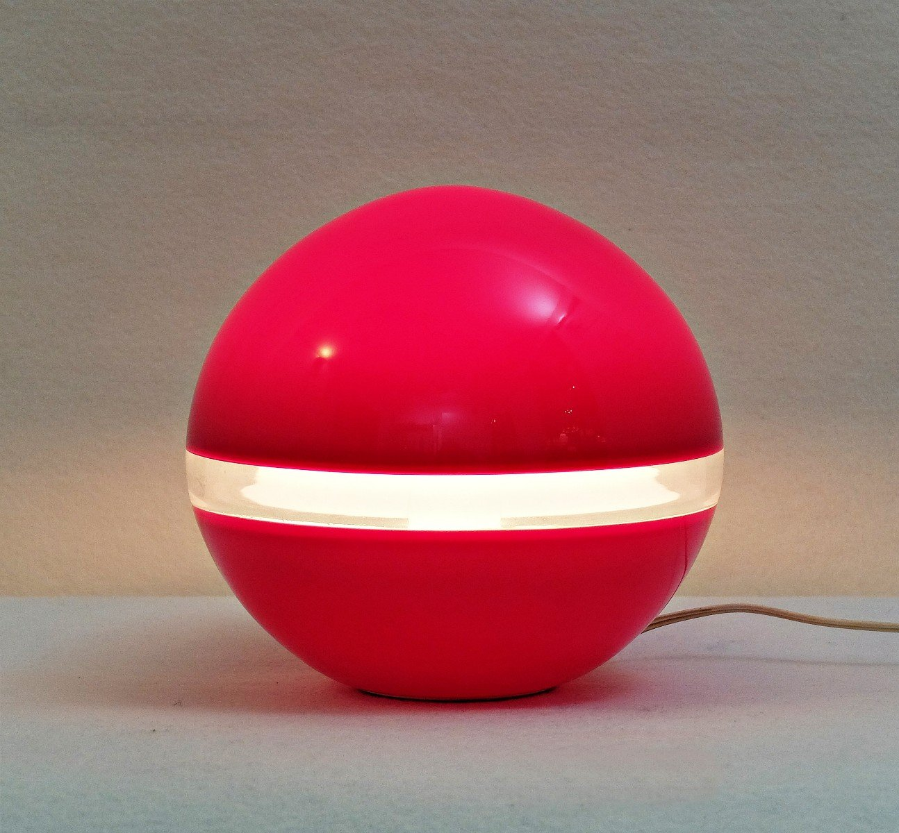 Italian Red Table Lamp by Carlo Nason for Mazzega, 1970s