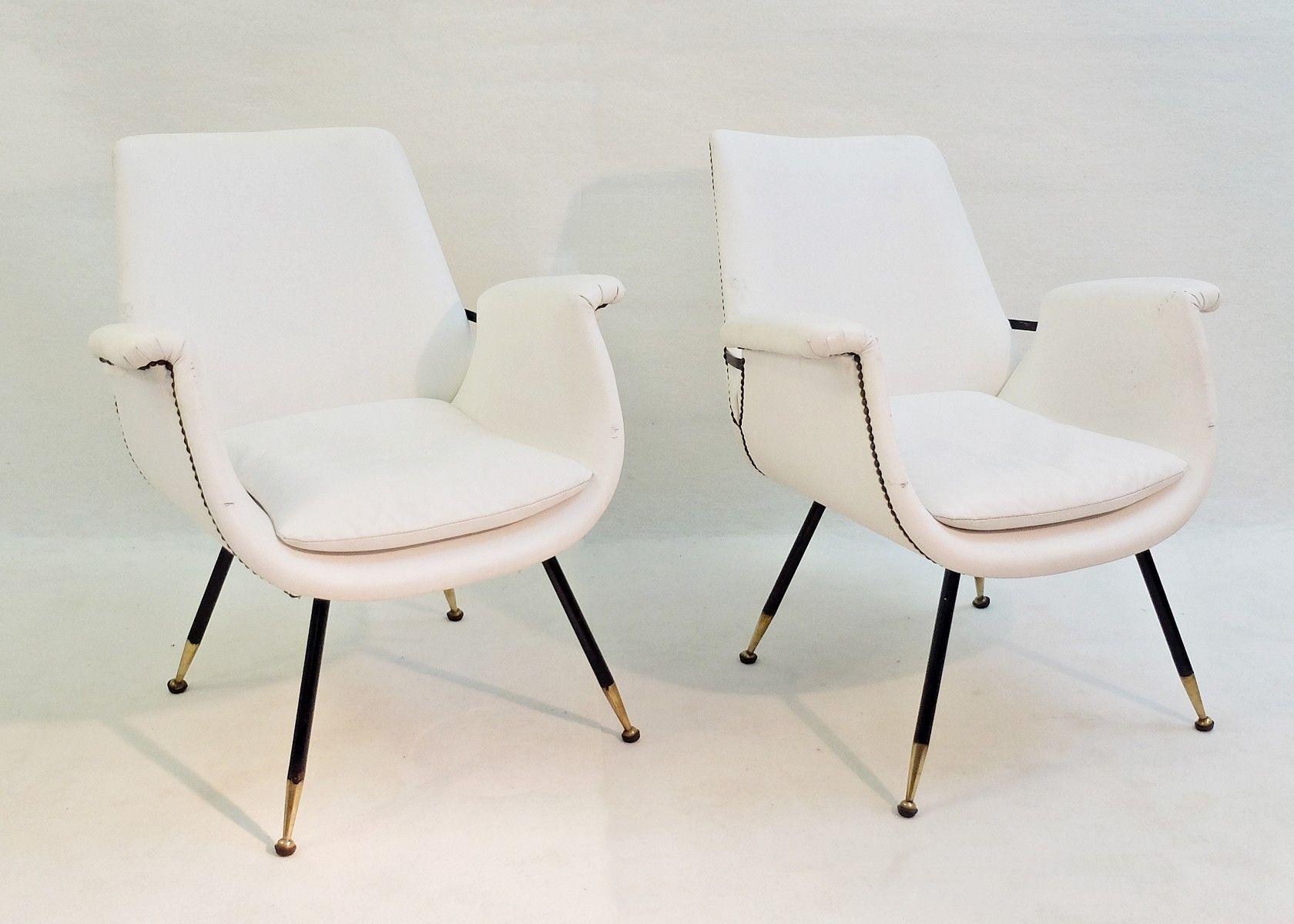 Small Italian White Faux Leather Armchairs, 1960s, Set Of 9
