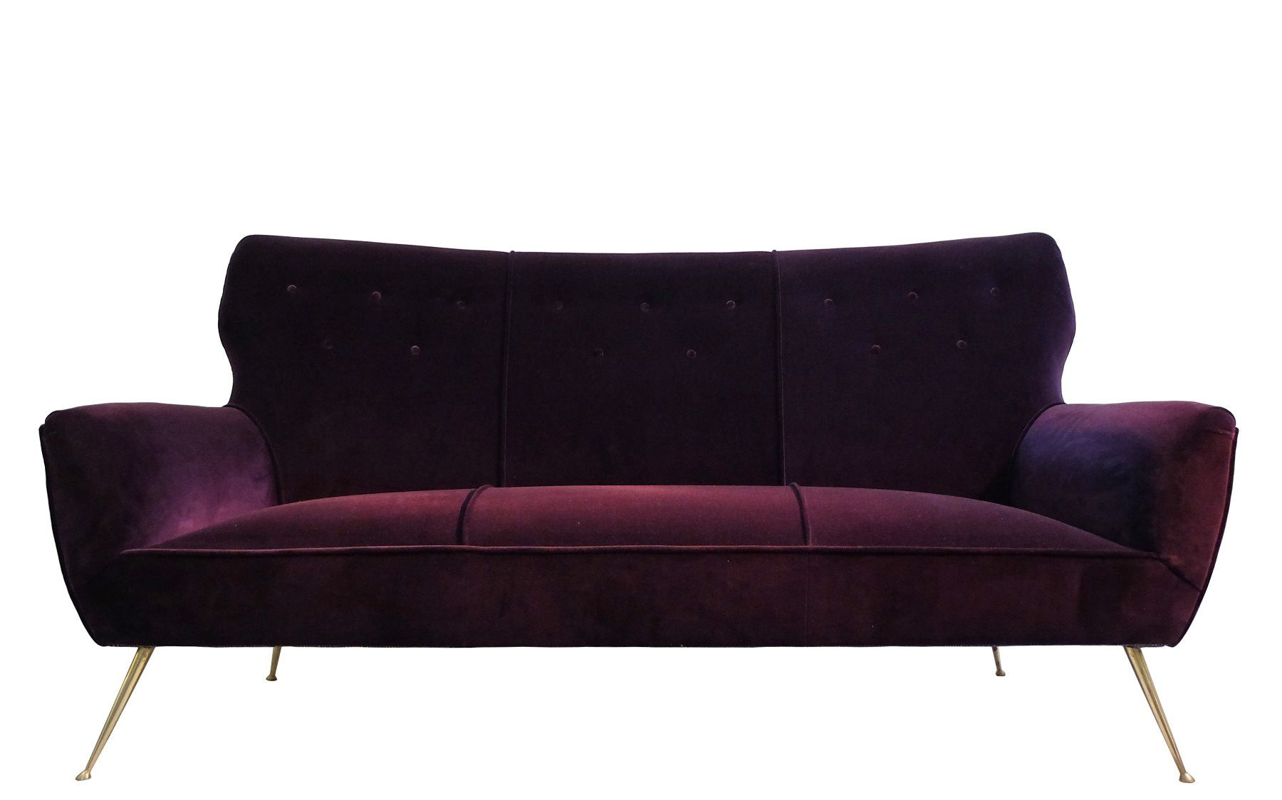 Italian 3 Seater Aubergine Velvet Sofa With Br Feet 1950s