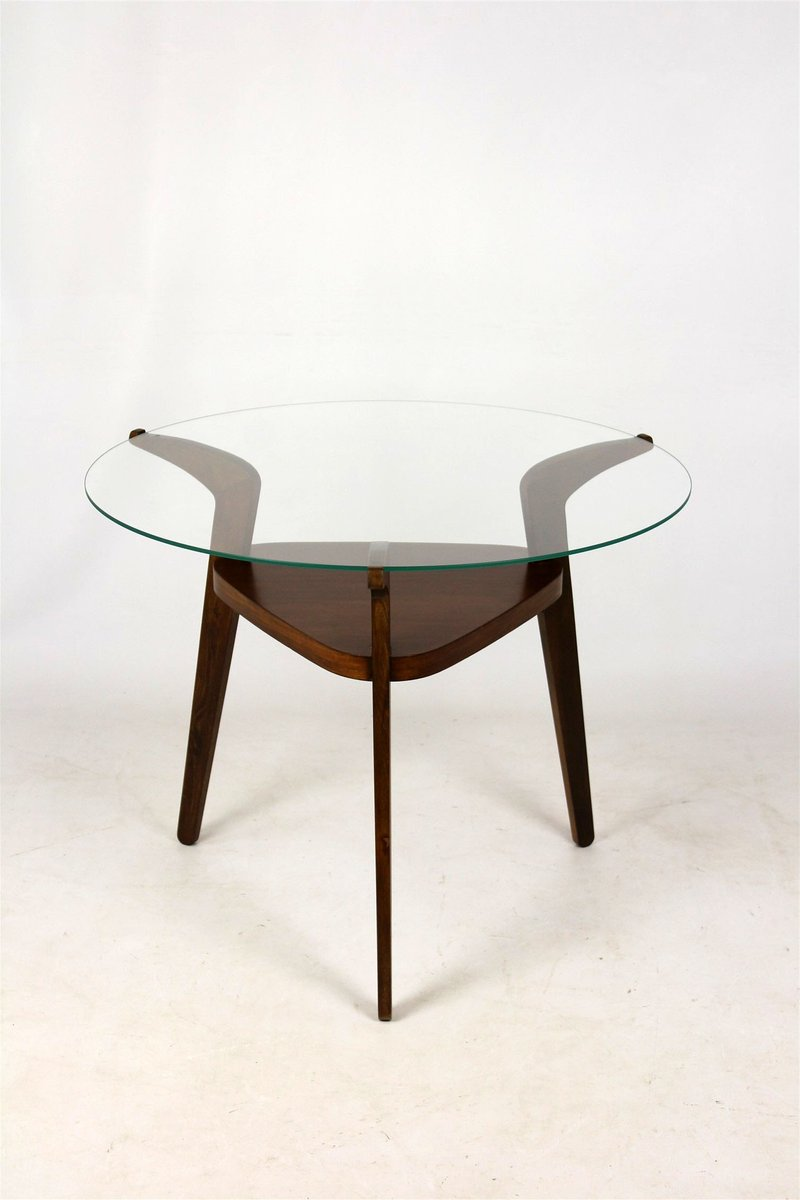 Mid Century Round Czech Glass Top Coffee Table From Jitona 1960s