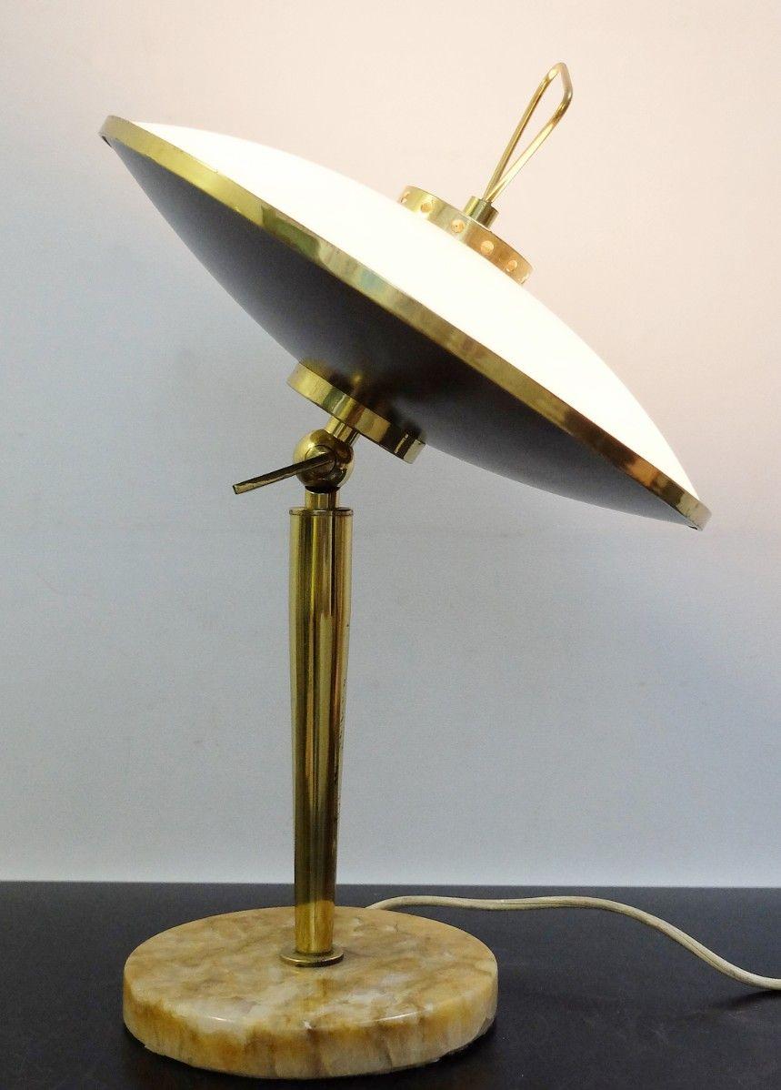 tischlampe mit verstellbarem opalglas schirm 1950er bei. Black Bedroom Furniture Sets. Home Design Ideas