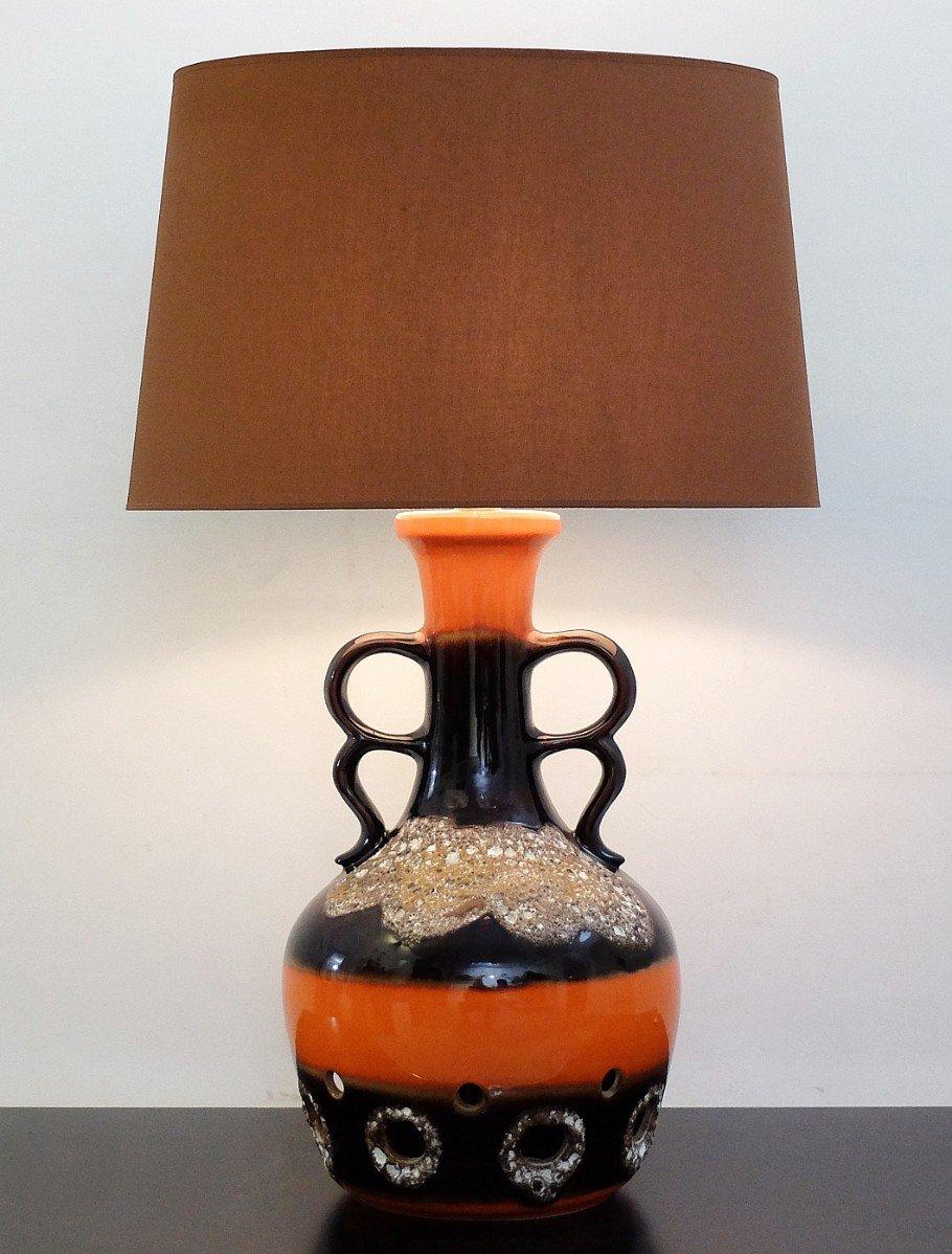 Orange Brown Fat Lava Ceramic Table Lamp 1960s