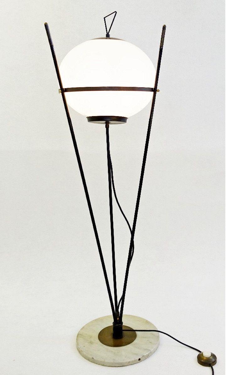 Italienische Opalglas-Stehlampe, 1950er