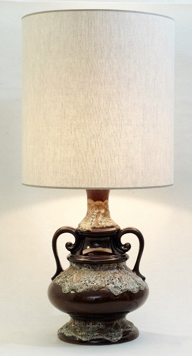 Vintage Fat Lava Brown Ceramic Table Lamp For Sale At Pamono