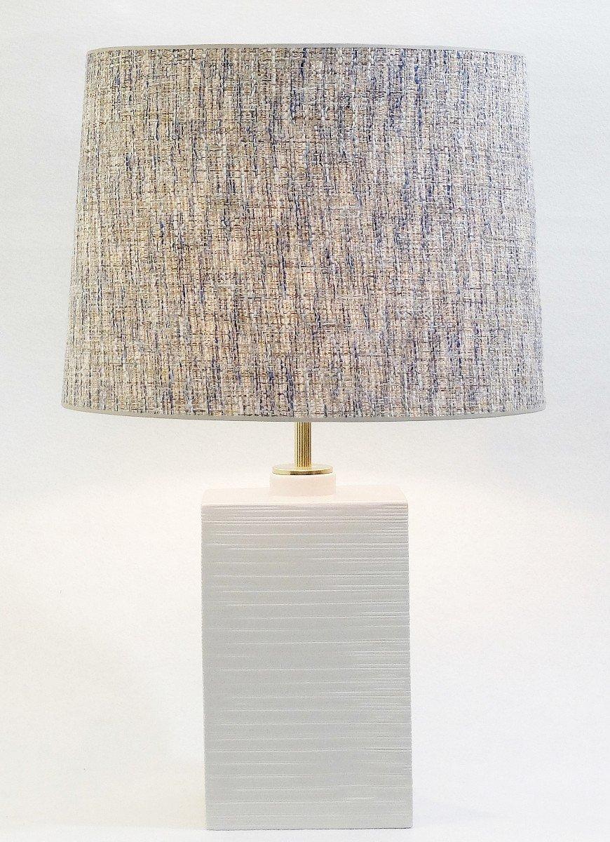 Italienische Tischlampe aus weißer Keramik von Ugo Zaccagnini, 1980er