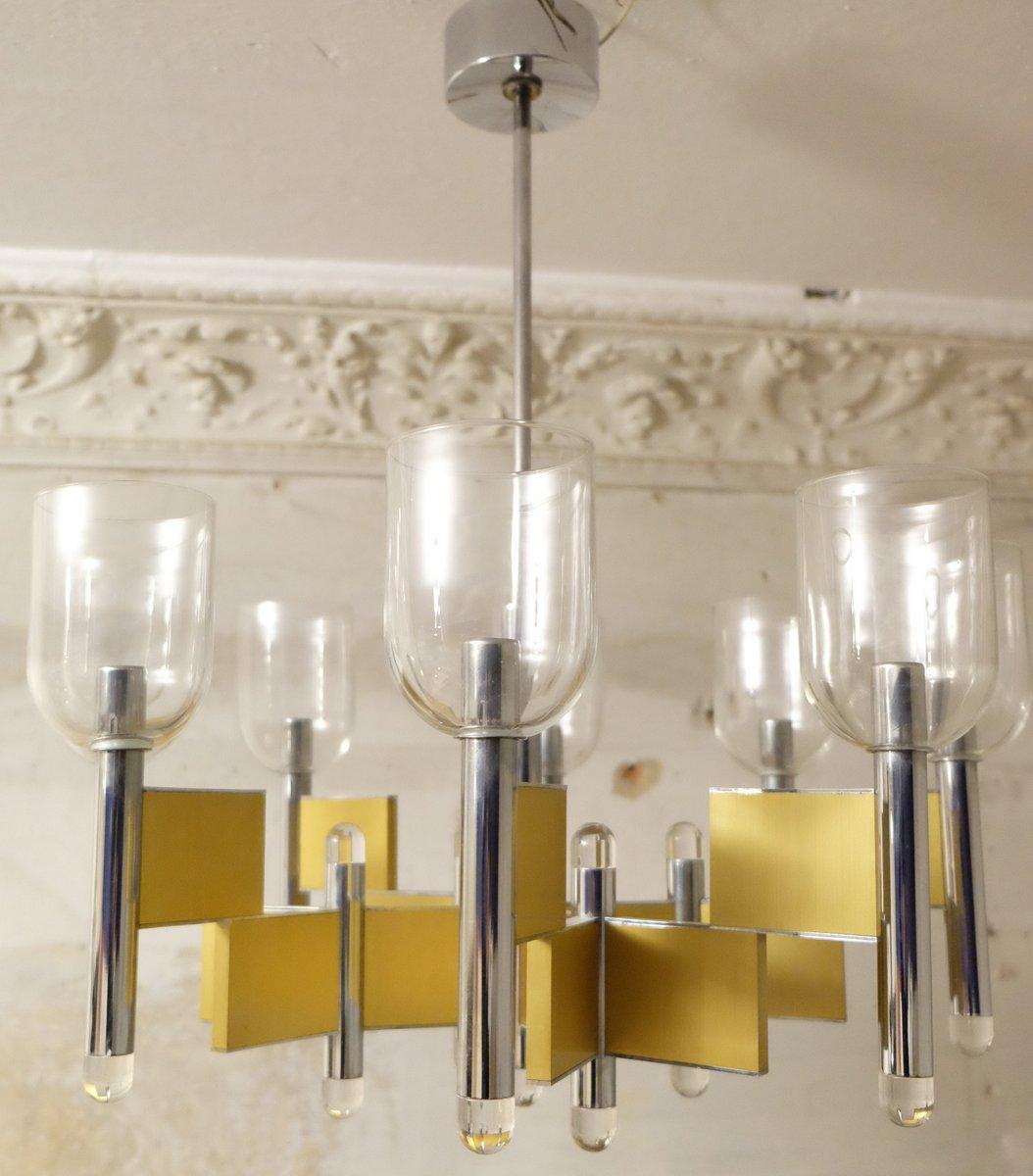 Geometrischer Mid-Century Kronleuchter mit 8 Leuchten von Gaetano Scio...