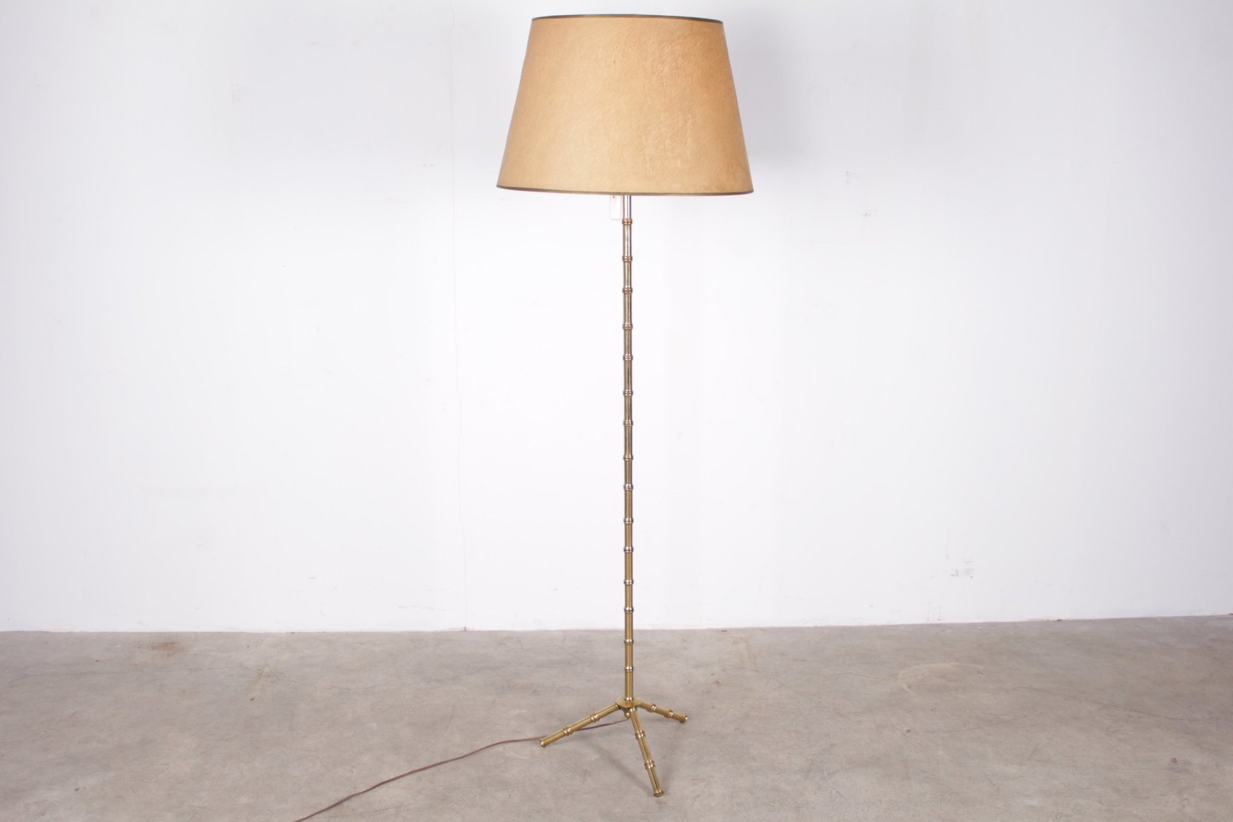 Vintage Tripod Faux Bamboo Brass Floor Lamp From Maison