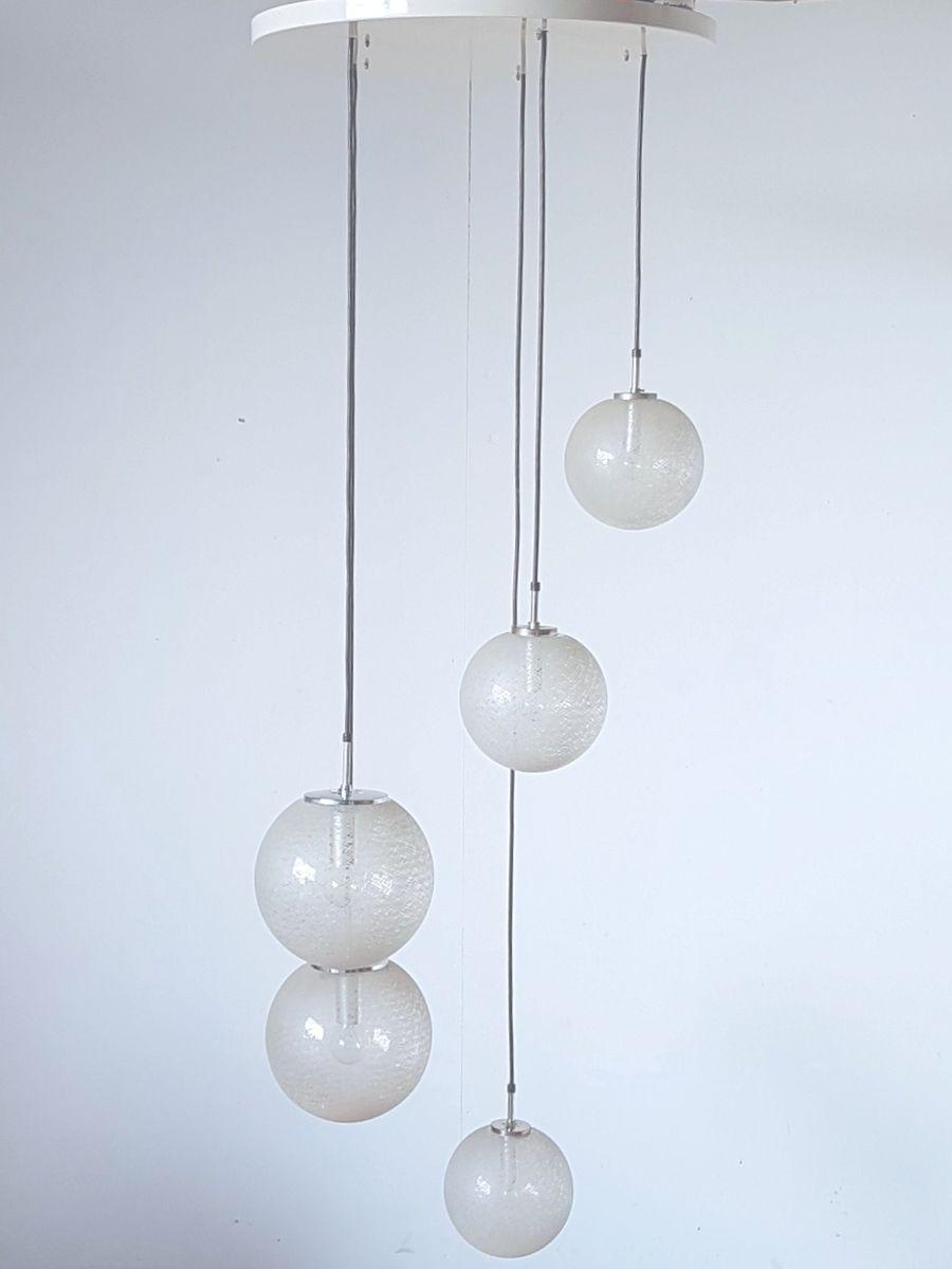 Vintage Hängelampe mit 5 geätzten Glaskugeln von Limburg
