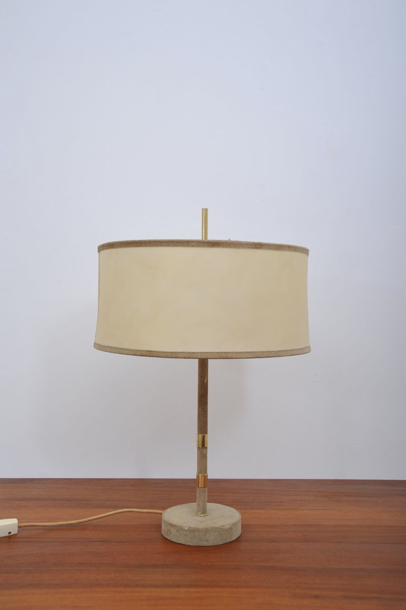 Wildleder Tischlampe, 1950er