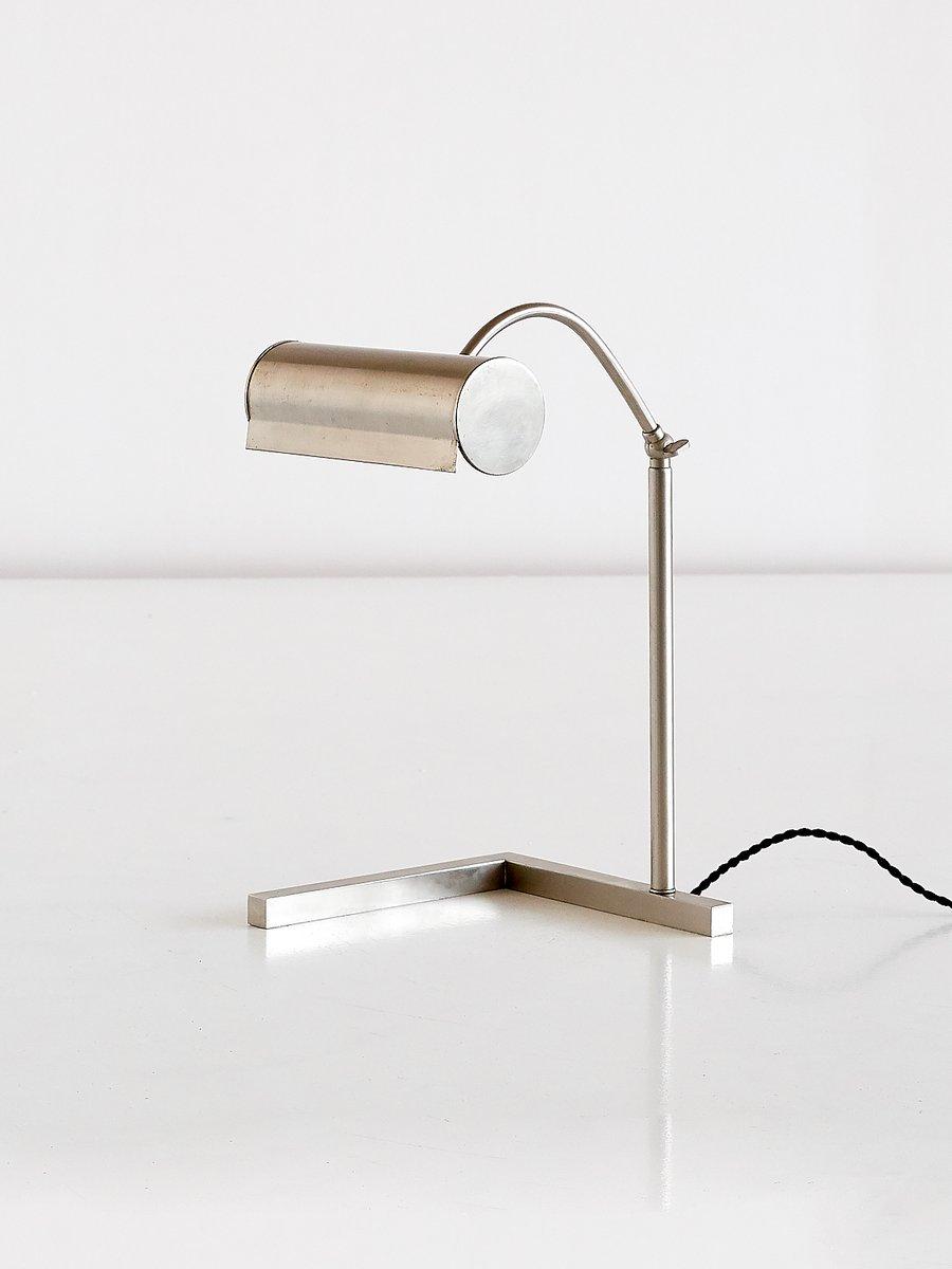 Moderne Schreibtischlampe aus gebürstetem Stahl, 1930er