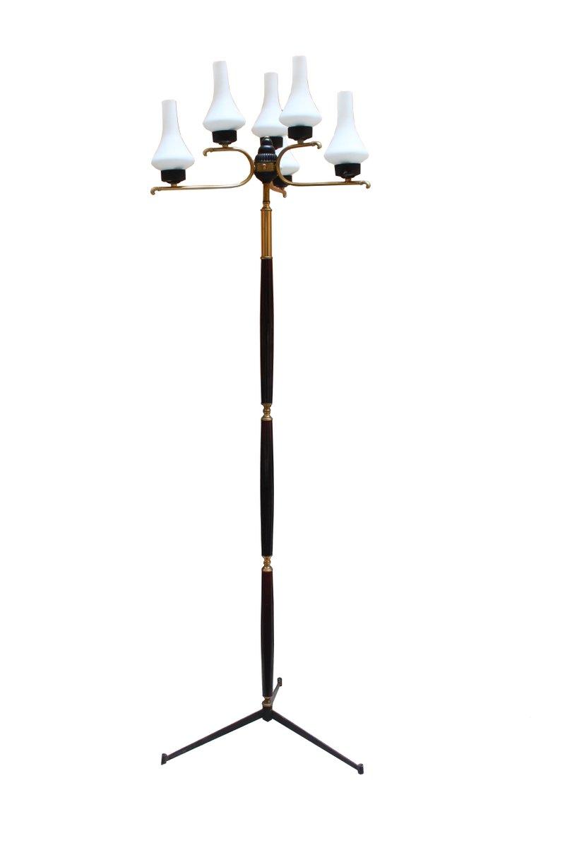 Italian uplighter floor lamp in opaline glass 1950s for sale at pamono italian uplighter floor lamp in opaline glass 1950s aloadofball Image collections