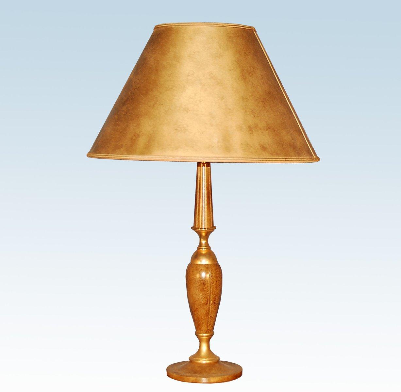 Goldene Messing & Leder Lampe von Le Tanneur, 1970er