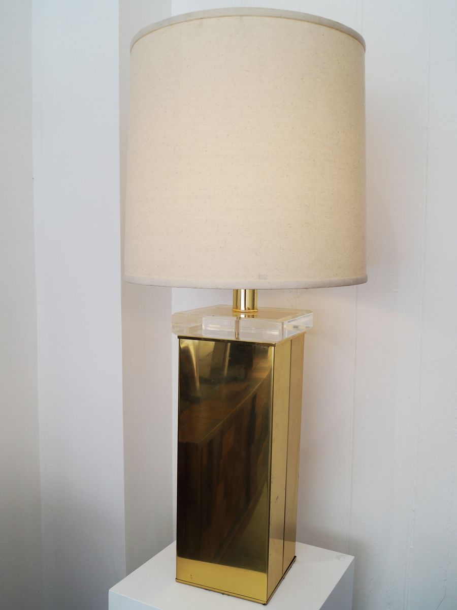 Gold & Plexiglas Tischlampe, 1970er