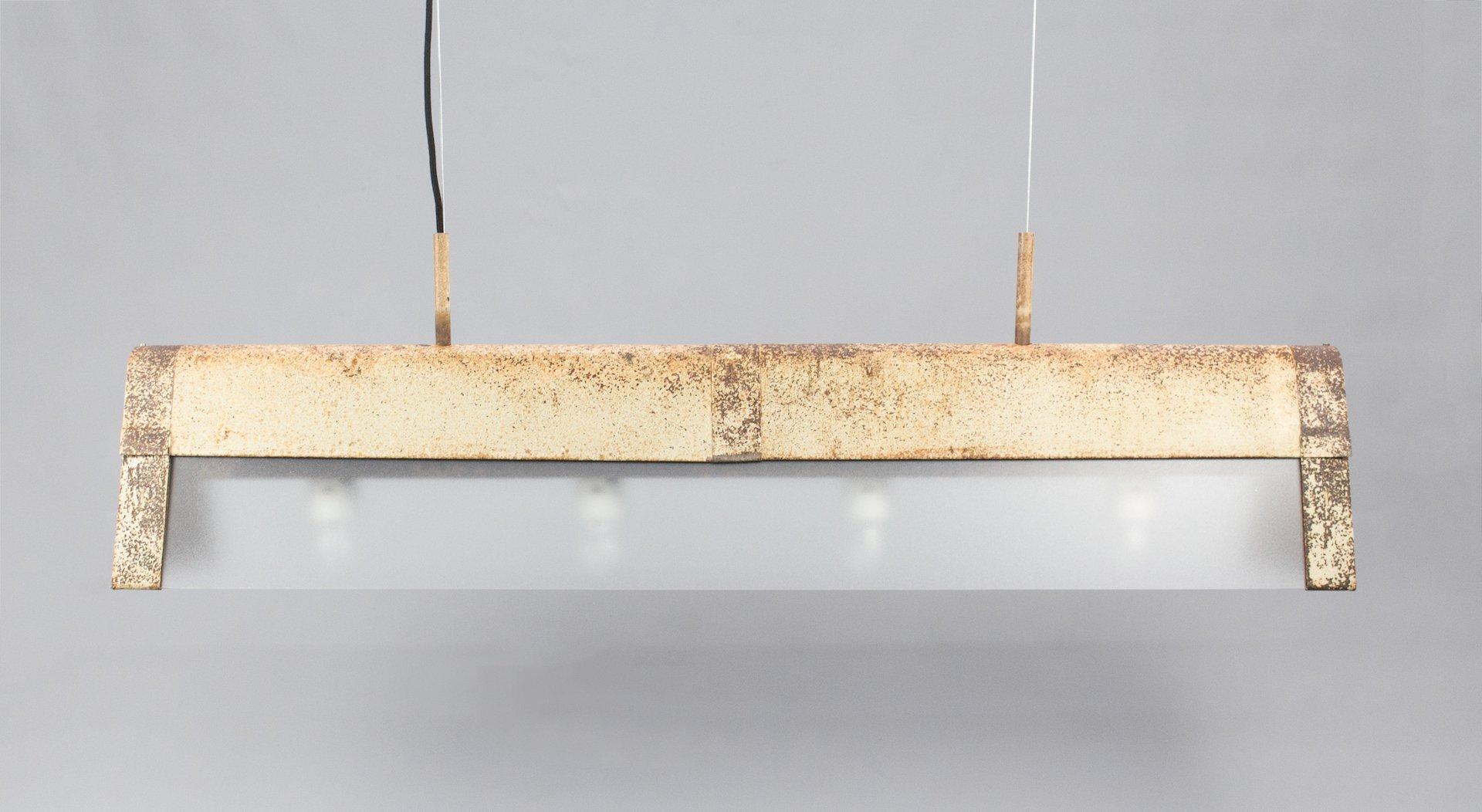 Vintage Deckenlampe aus Aluminium & Glas