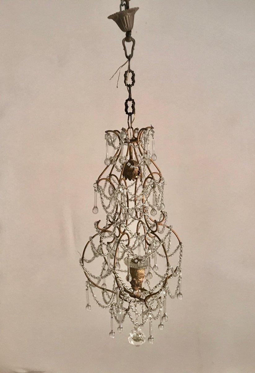 Vintage Macaroni Bird Cage Kronleuchter mit Glasperen
