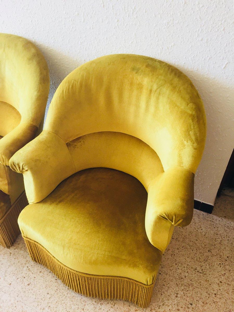 Vintage Sessel mit gelbem Samtbezug, 1960er, 2er Set