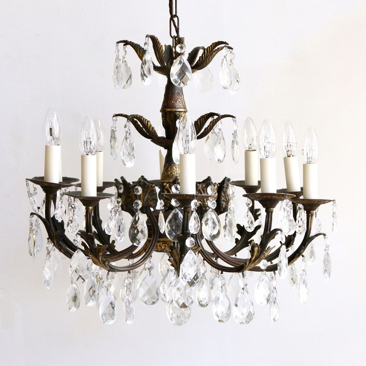 Ornate brass glass chandelier 1930s for sale at pamono ornate brass glass chandelier 1930s aloadofball Image collections