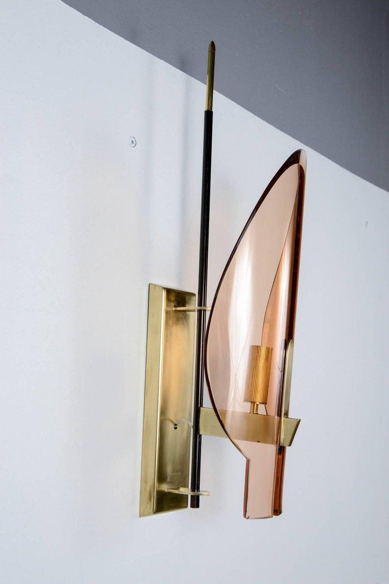 Rosa Glas Wandlampen, 1960er, 2er Set