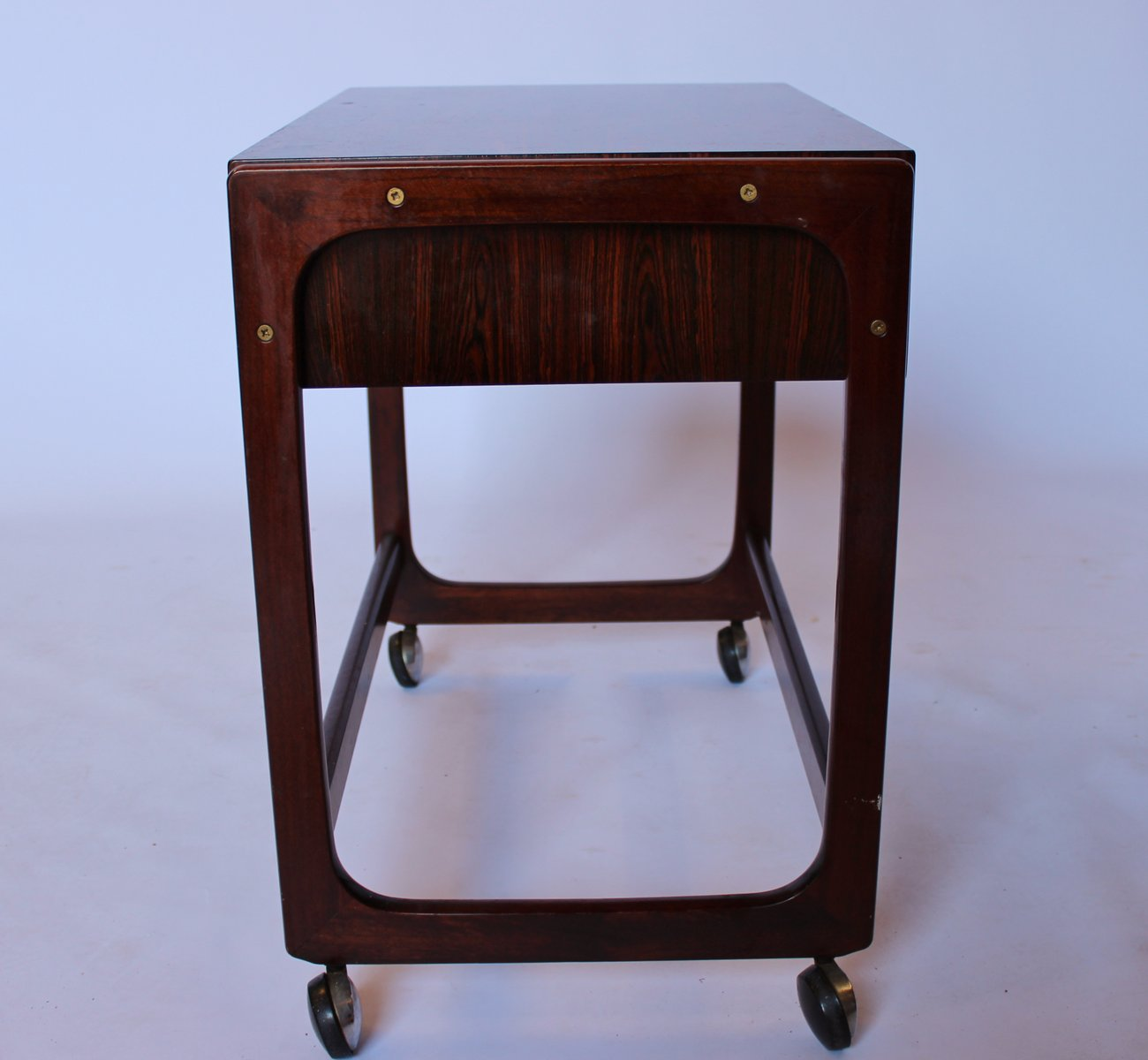 Small Work Table in Rosewood with Wheels from Gelsted ...