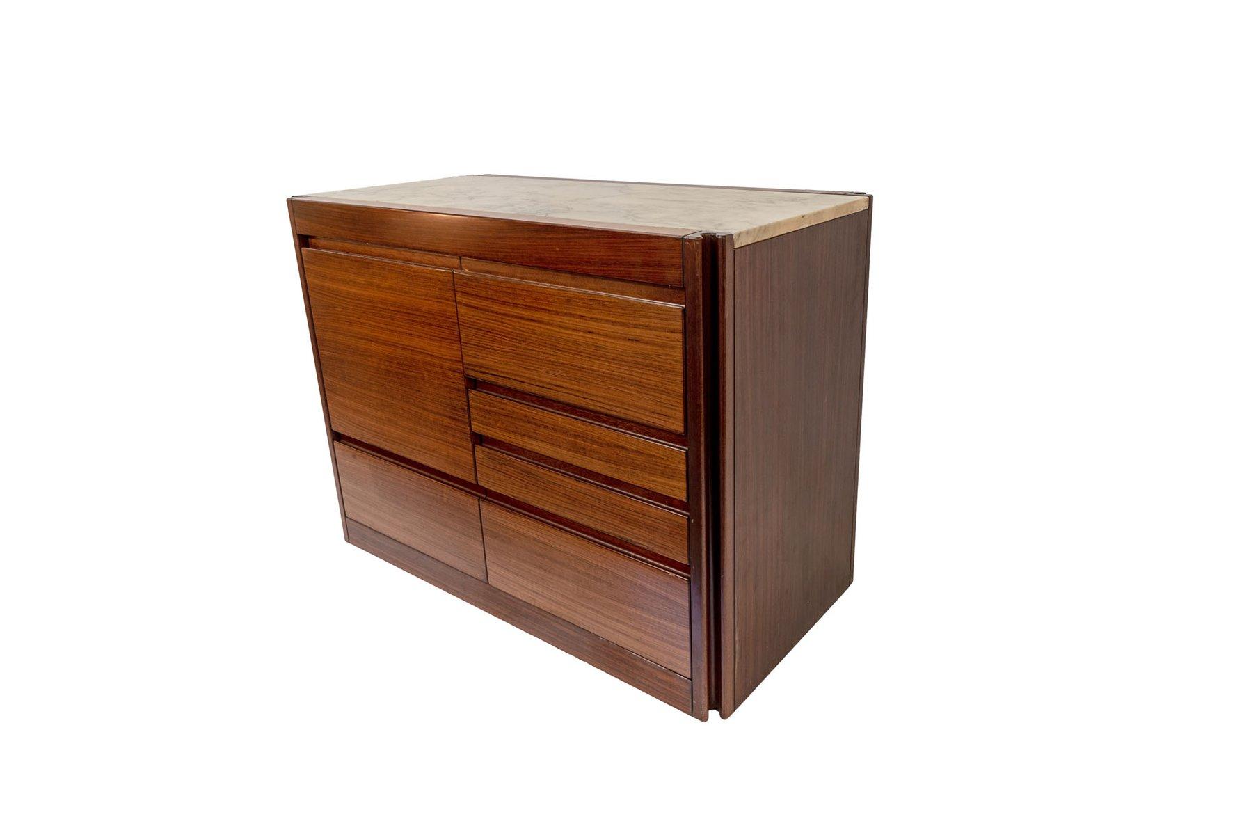 Sideboard aus Holz & Marmor von Angelo Mangiarotti, 1970er