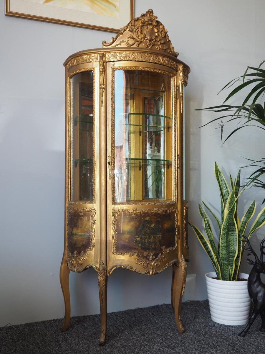 Antique French Gilded Vitrine Display Cabinet