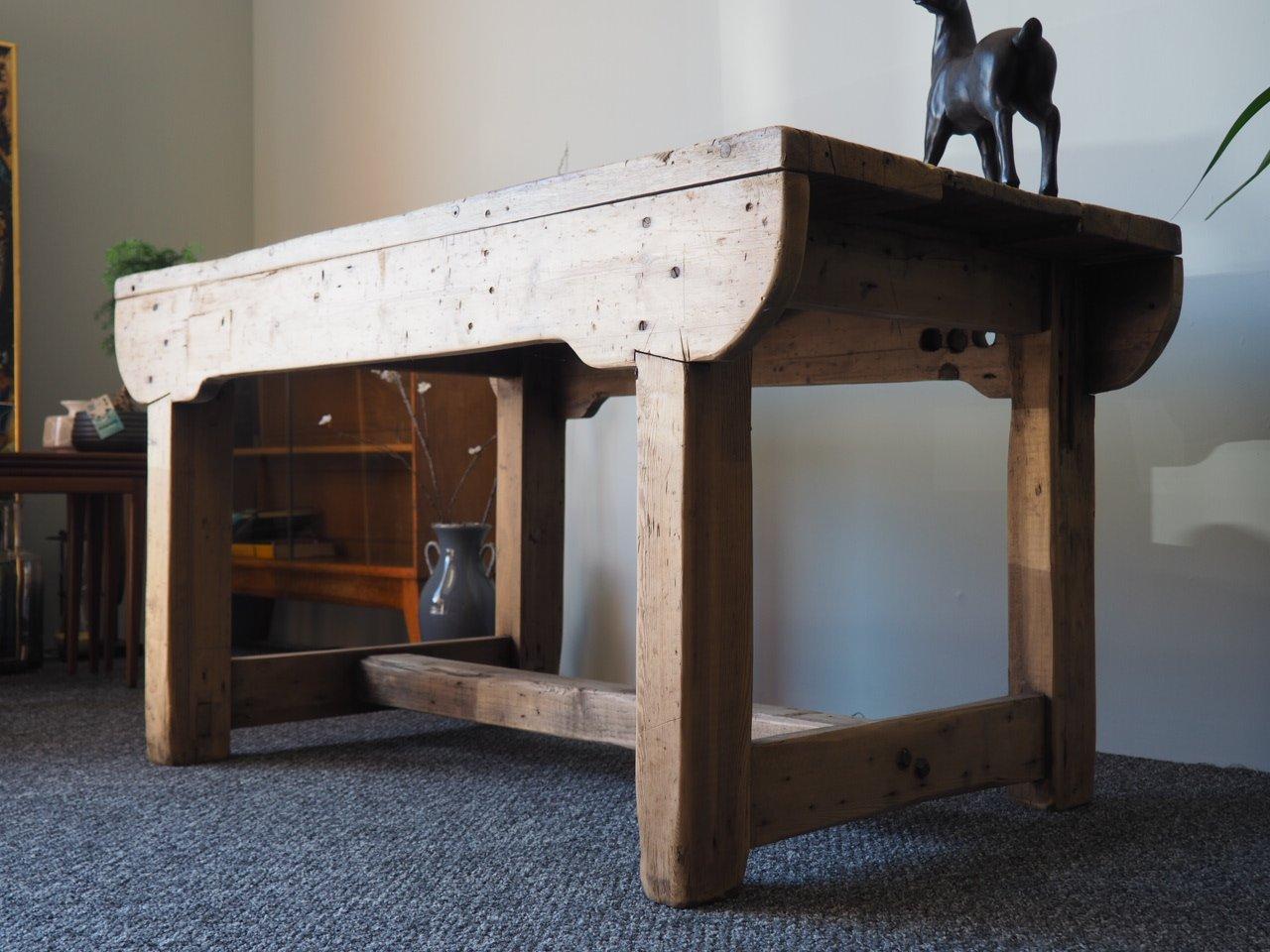 banc d 39 atelier ou table de salle manger rustique vintage en pin en vente sur pamono. Black Bedroom Furniture Sets. Home Design Ideas