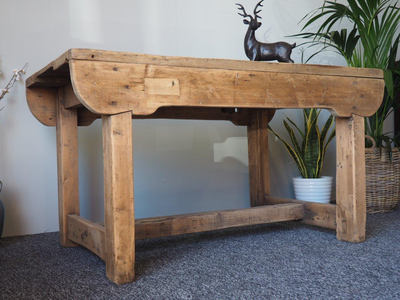 Banco de trabajo o mesa de comedor rústica vintage de pino en venta ...