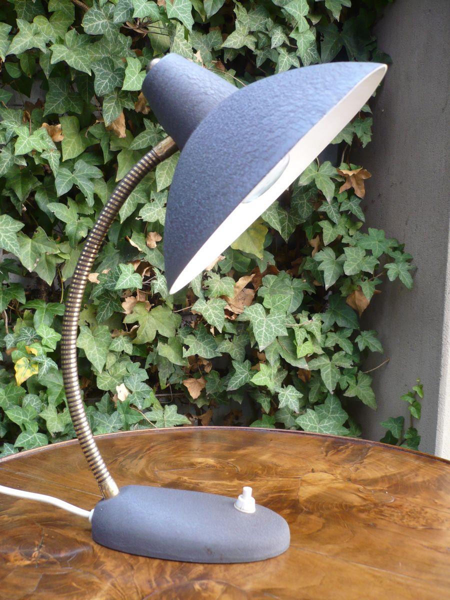 Dunkelgraue Schwanenhals-Tischlampe, 1950er