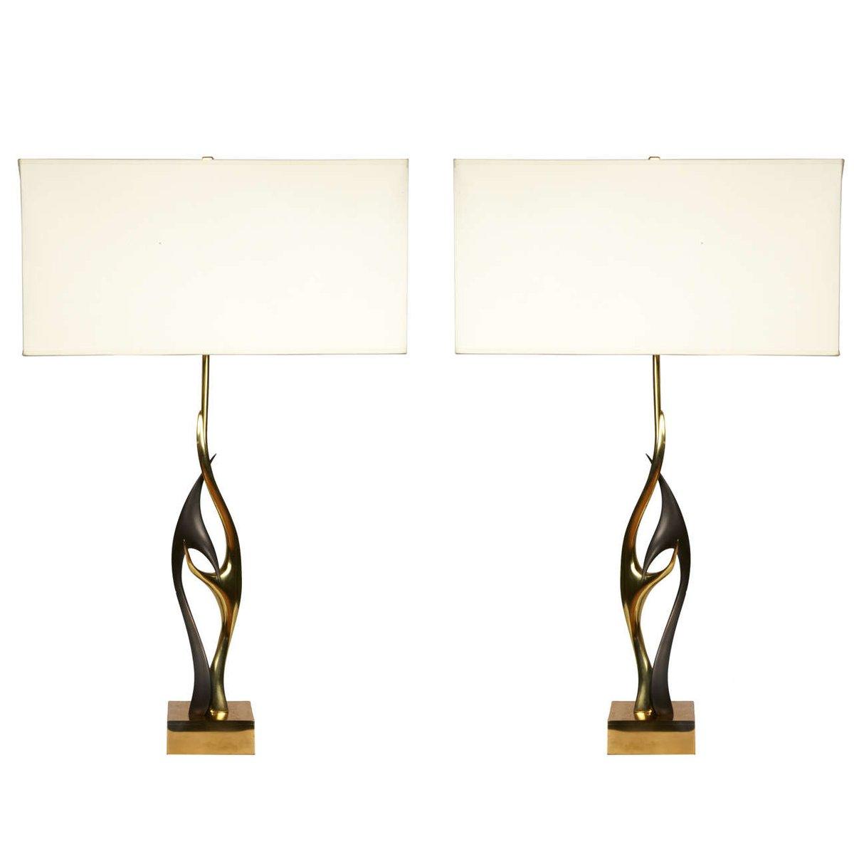 Vintage Bronze Tischlampen Gestelle von Willy Daro, 2er Set