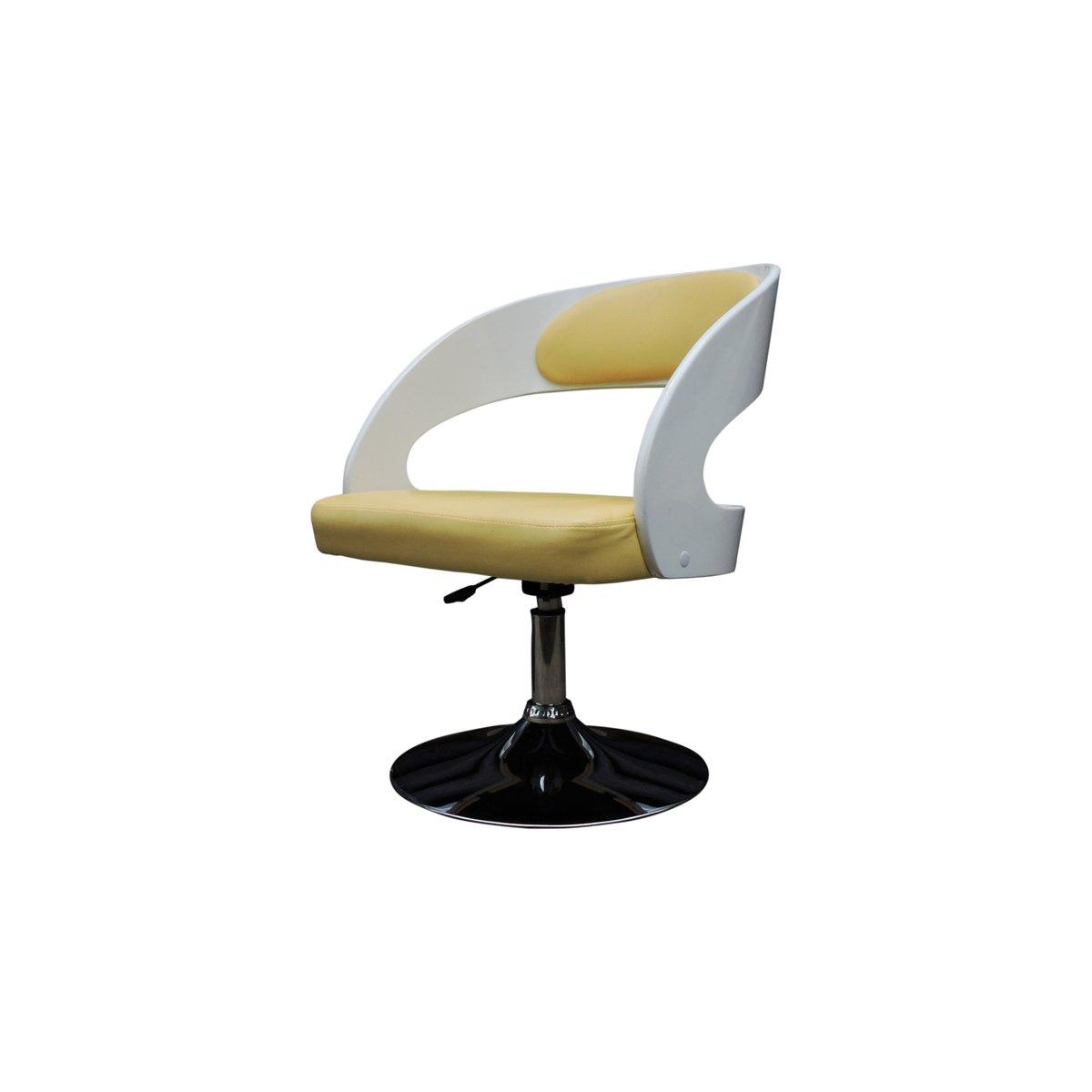 Weiß lackierte hölzerne Salon Sessel mit gelben Kunstlederbezügen, 196...