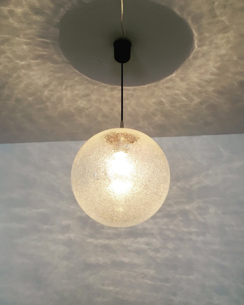 Ice glass globe pendant lamp from peill putzler 1960s for sale at price per piece aloadofball Choice Image