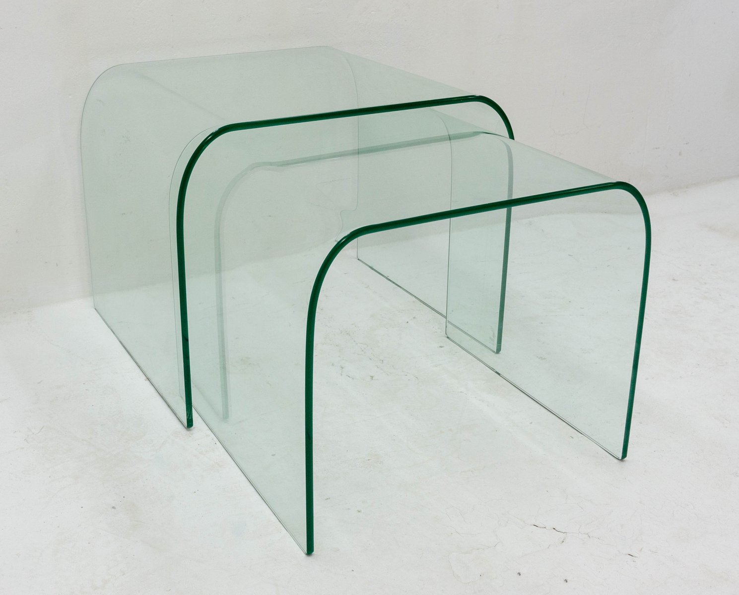 Glass nesting tables by angelo cortesi and sergio chiappa gatto for glass nesting tables by angelo cortesi and sergio chiappa gatto for fiam 1980s set of 2 watchthetrailerfo