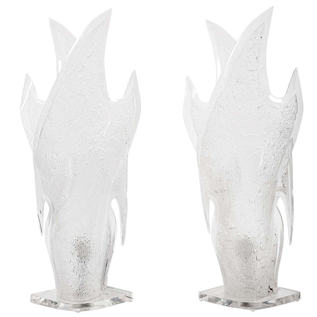 Skulpturale Plexiglas Tischlampen, 1970er, 2er Set