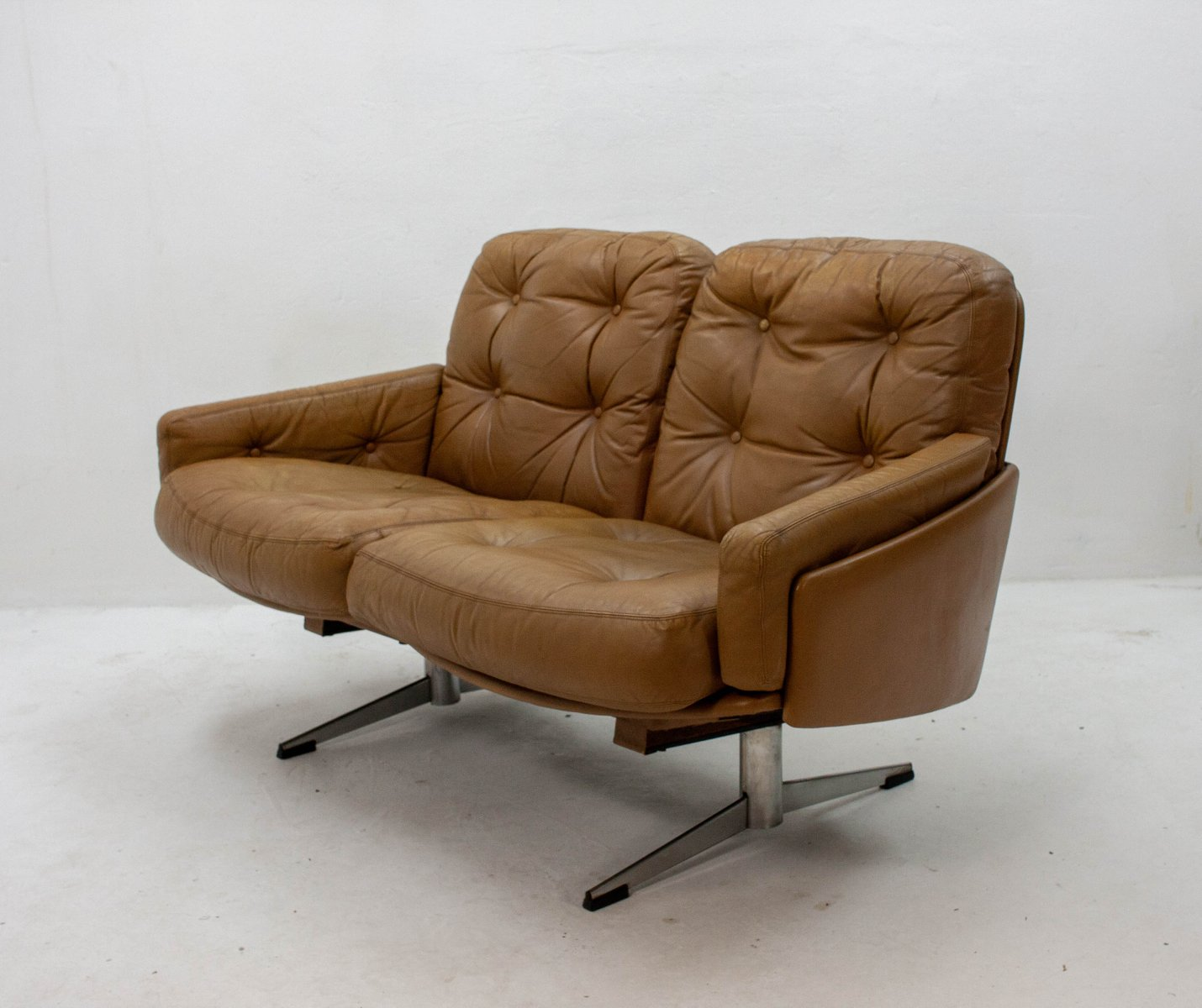 Curved Leather Sofa 1960s 6 2 103 00 Price Per Piece