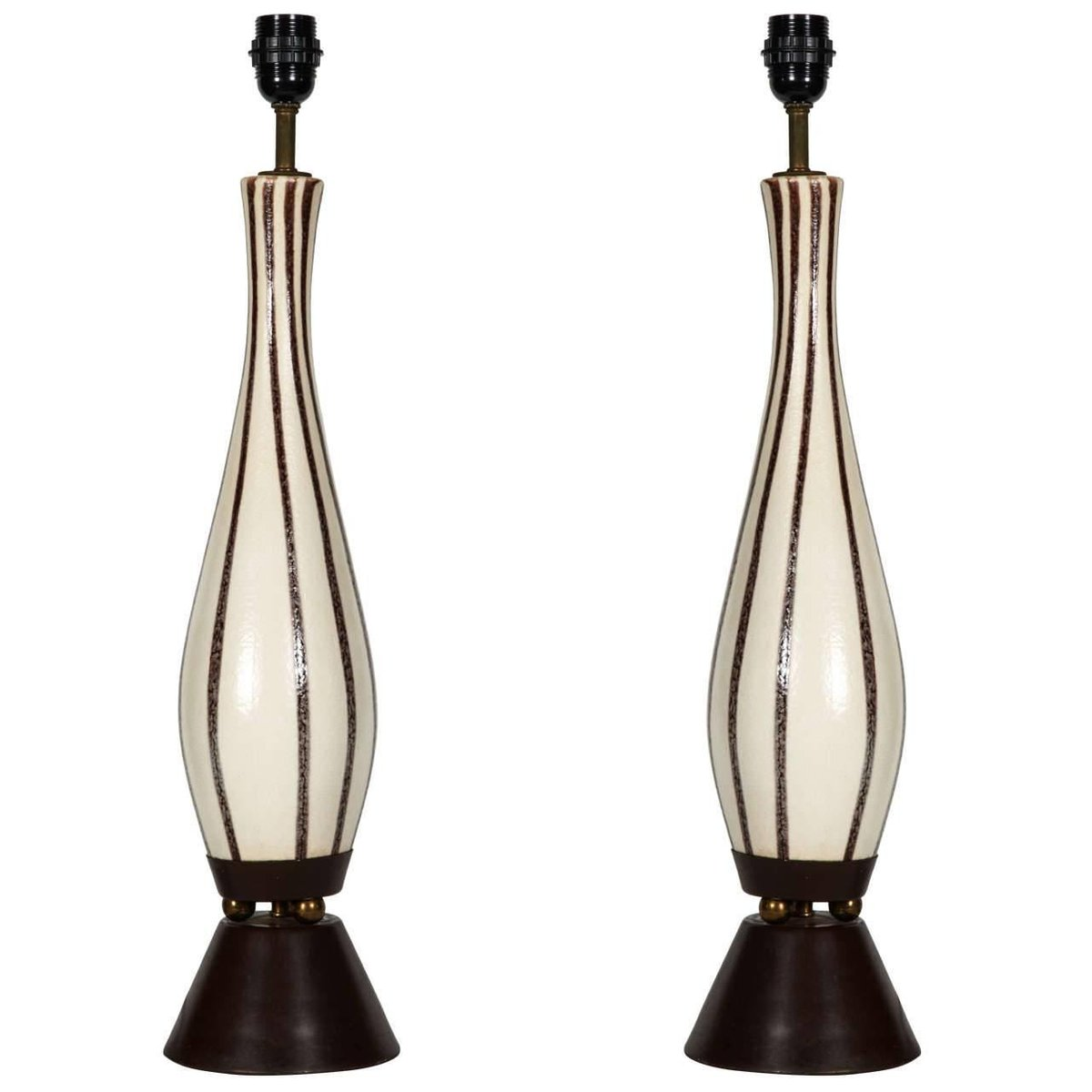 Keramik Tischlampen, 1960er, 2er Set