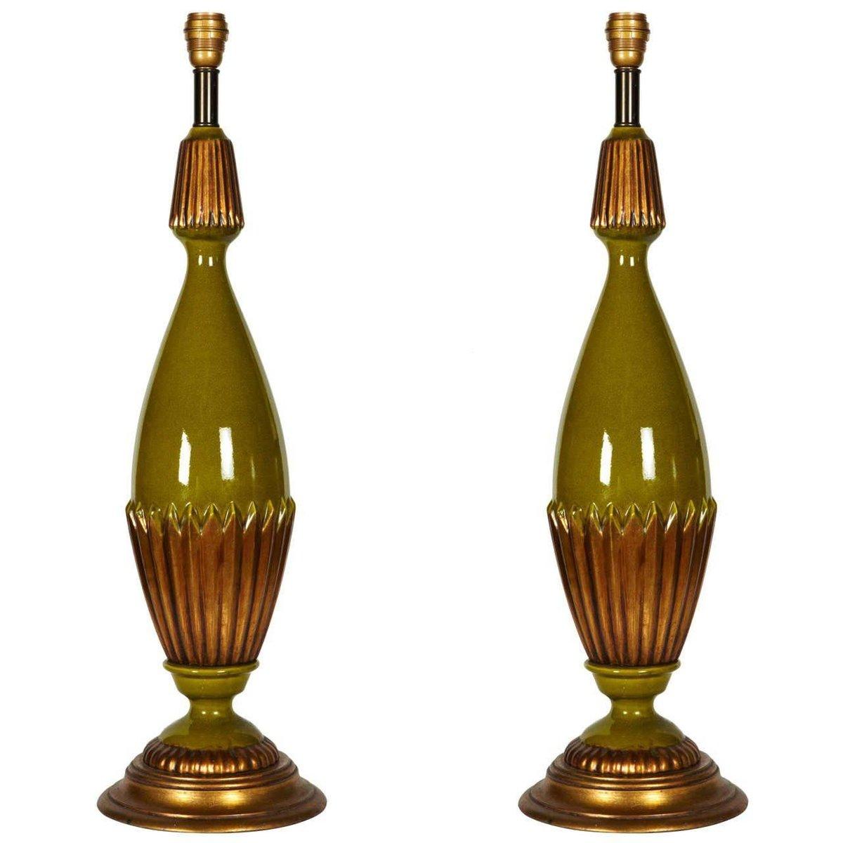 Große Keramik Lampen in Grün & Gold, 1970er, 2er Set