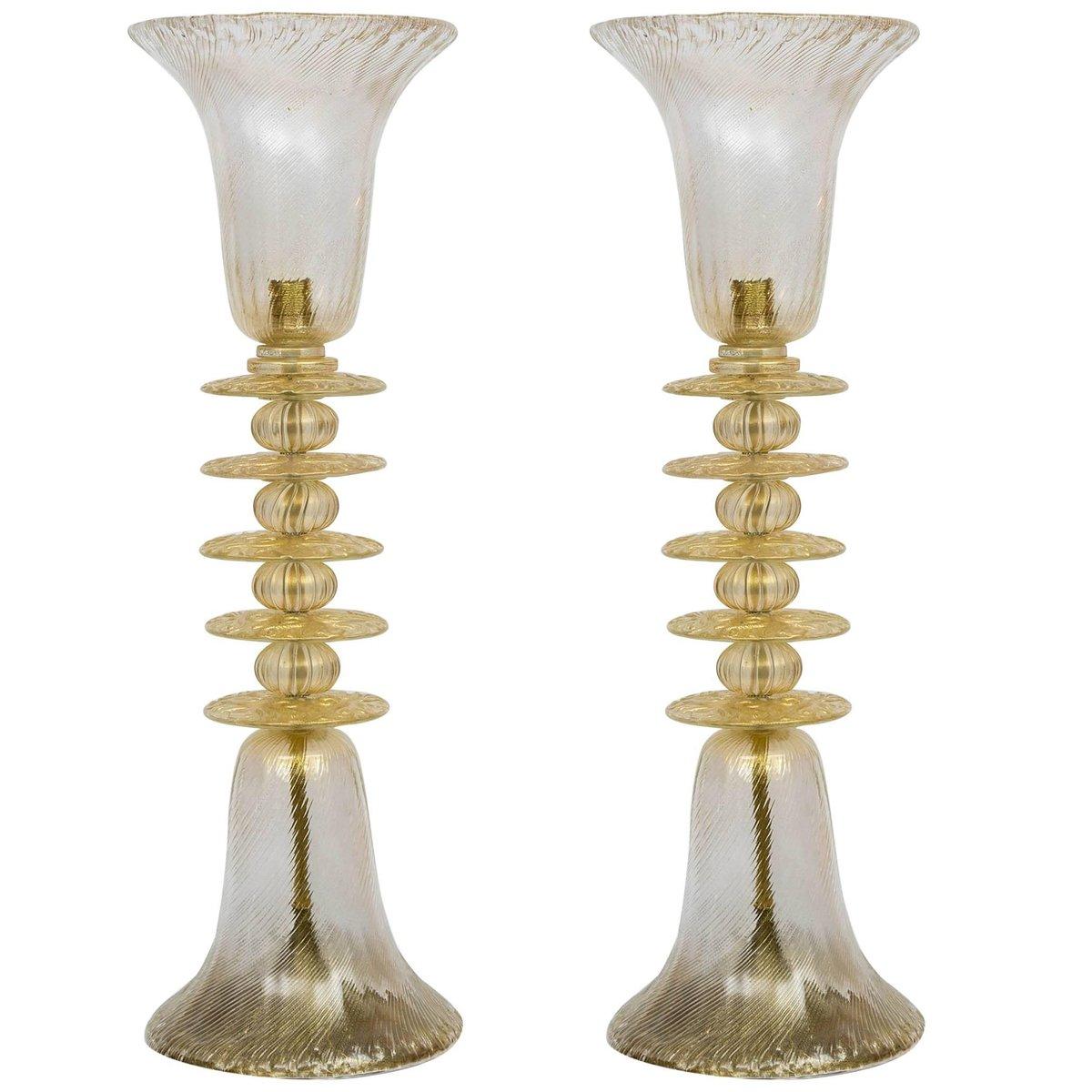 Hohe Vintage Murano Glas Tischlampen, 2er Set