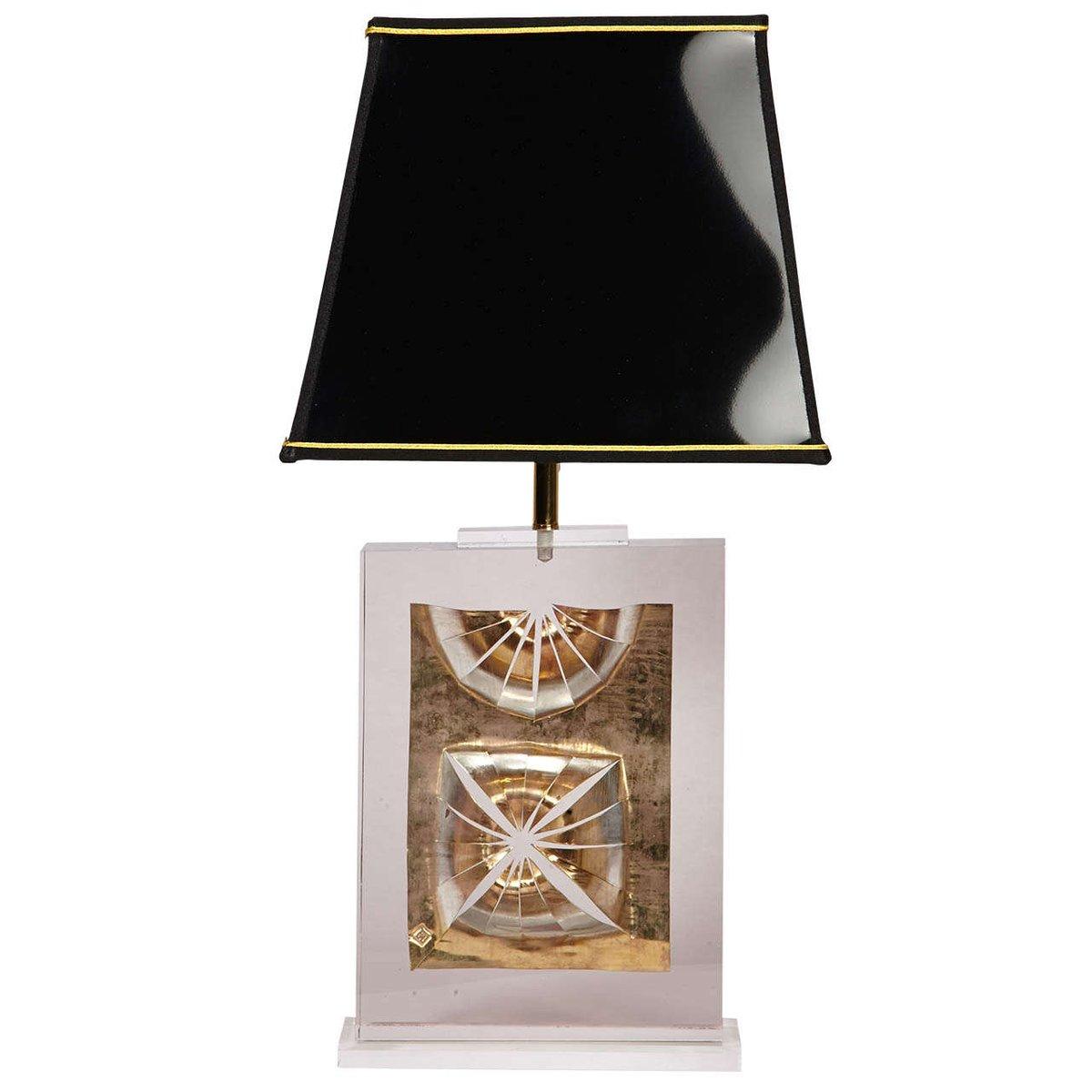 Französische Plexiglas Tischlampe von Maison Romeo, 1980er