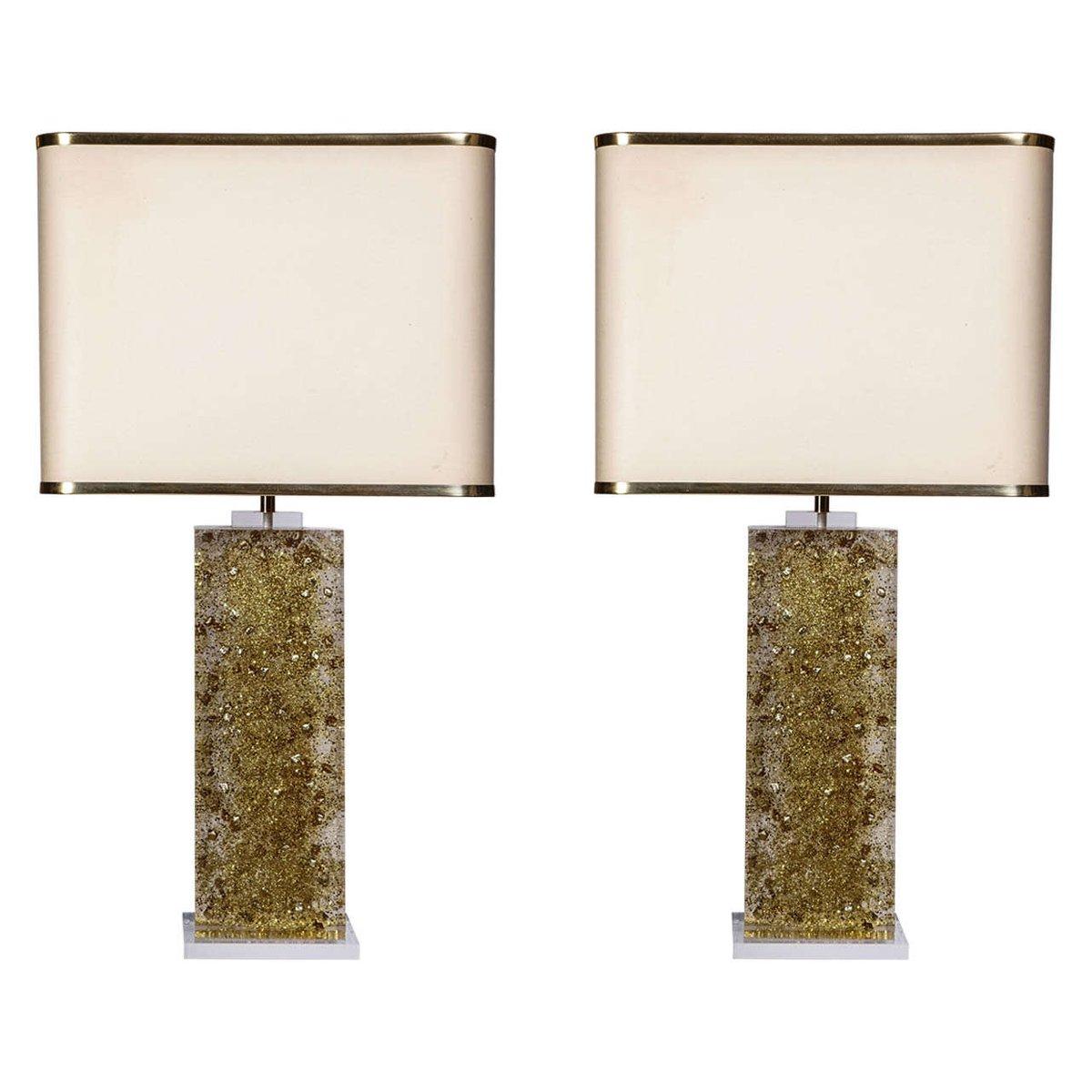 Vintage Tischlampen mit Plexiglasfuß von Maison Roméo, 2er Set