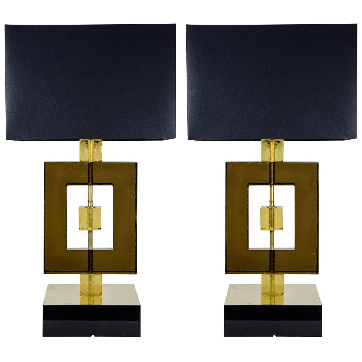 Vintage Murano Glas Lampen, 2er Set