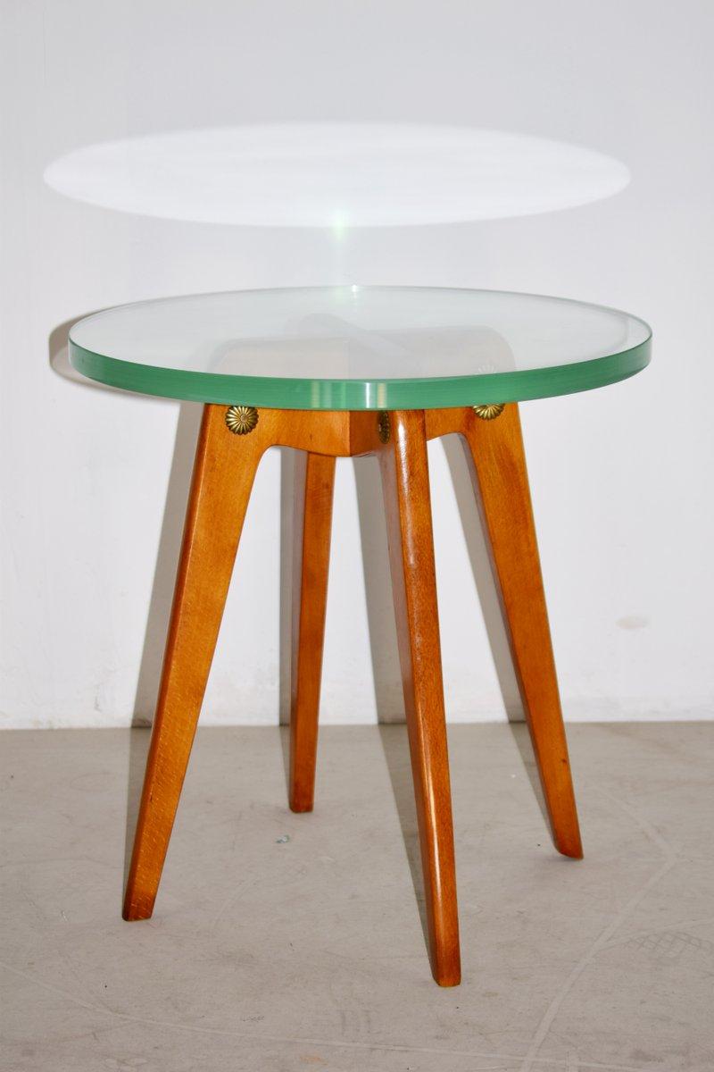 Italienische Mid-Century Holz und Glas Couchtische, 1950er, 2er Set