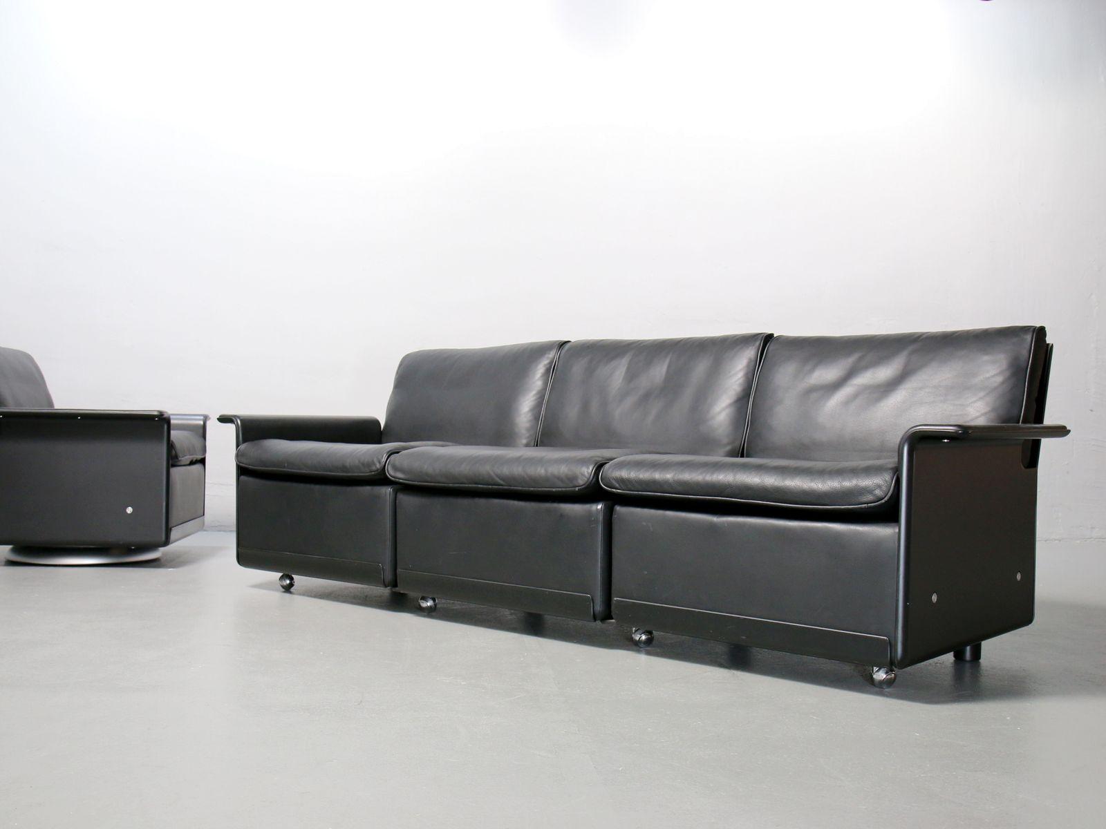 Schwarzes Vintage Leder 620 3-Sitzer Sofa von Dieter Rams für Vitsœ