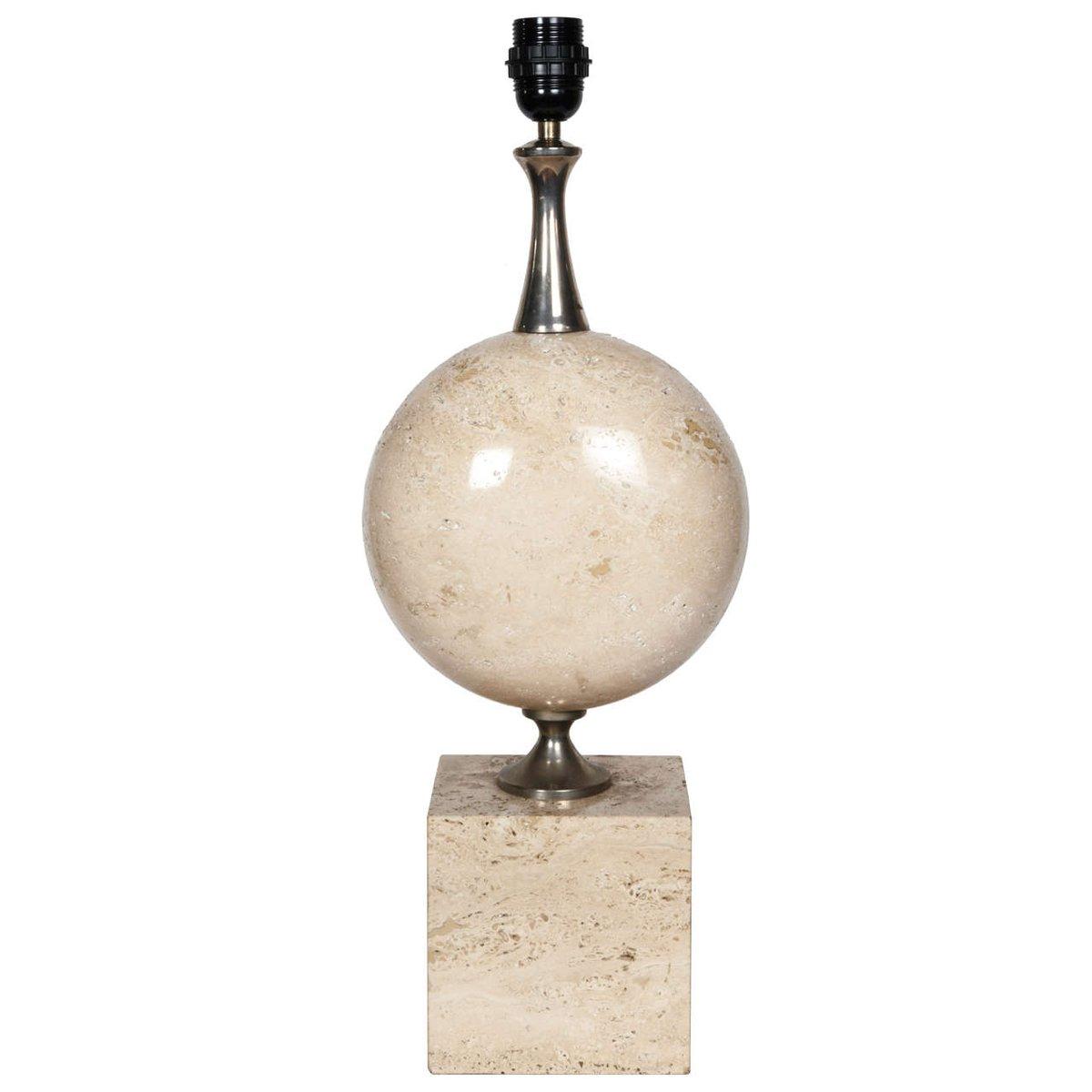 Vintage Travertin Lampe von Barbier