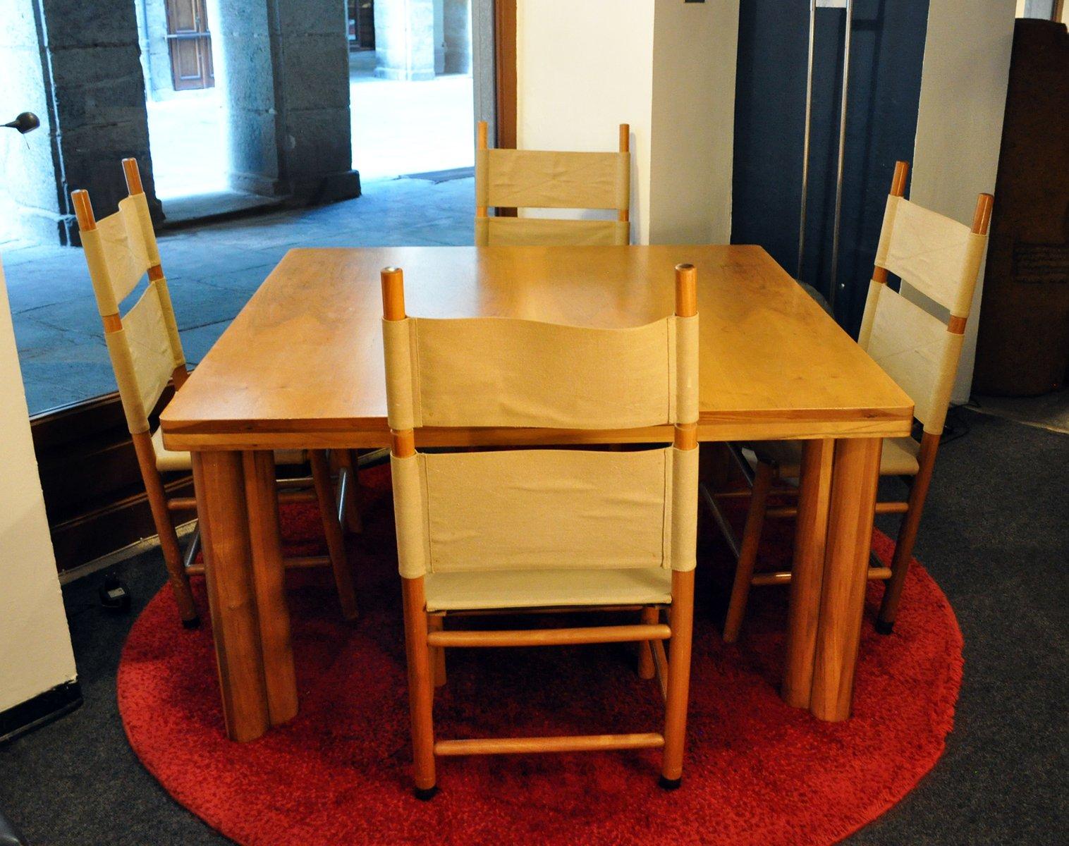Kentucky Stühle und Scuderia Tisch von Carlo Scarpa für Bernini, 1977