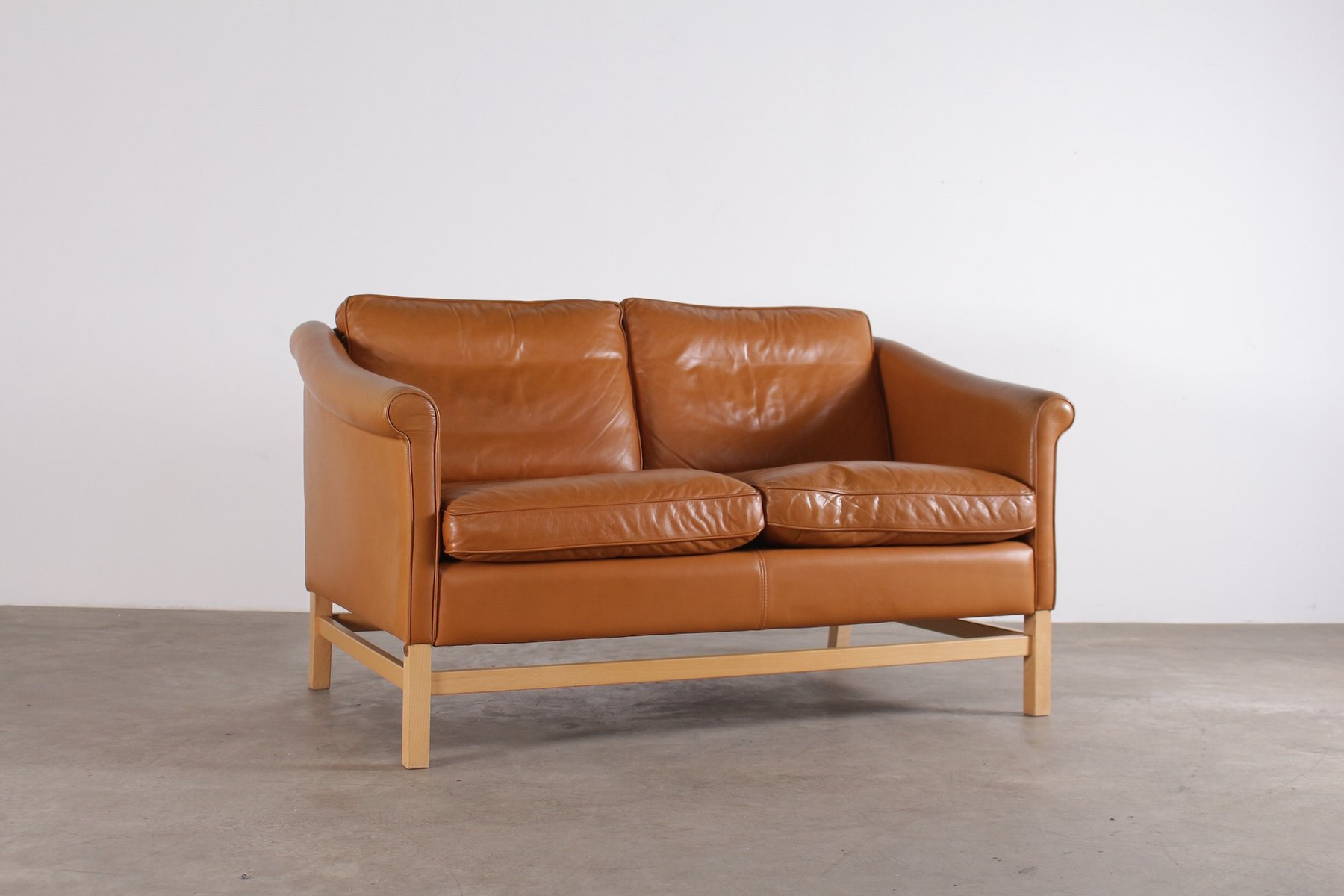Scandinavian Cognac Leather Sofa From Stouby, 1970s