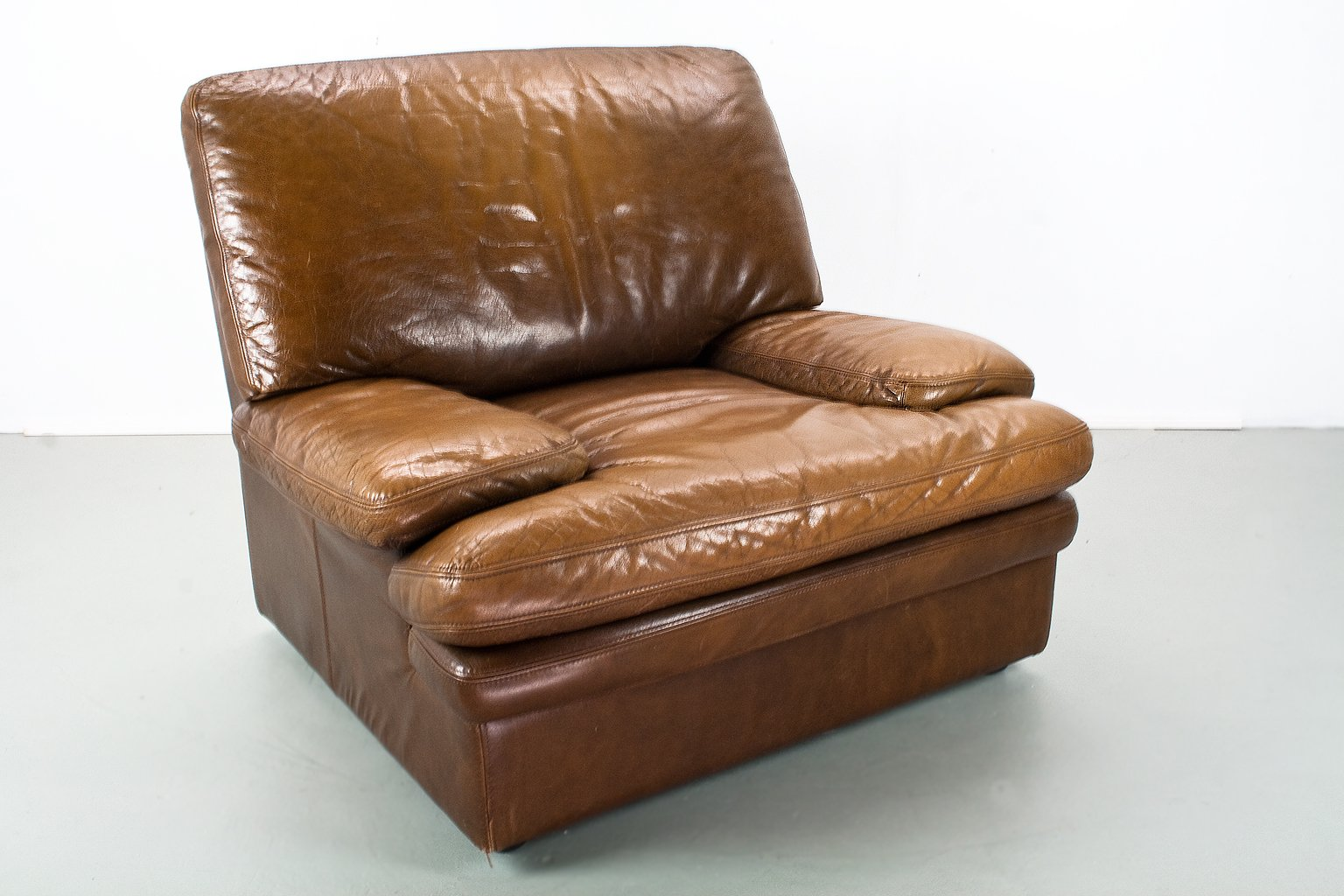 Vintage Leather Lounge Chair From Roche Bobois, 1960s