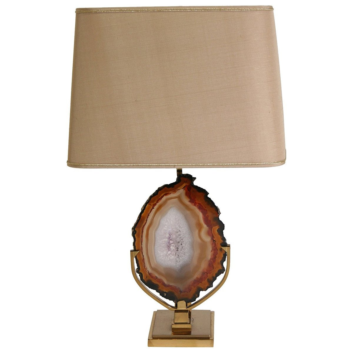 Vintage Tischlampe aus Messing mit Achat